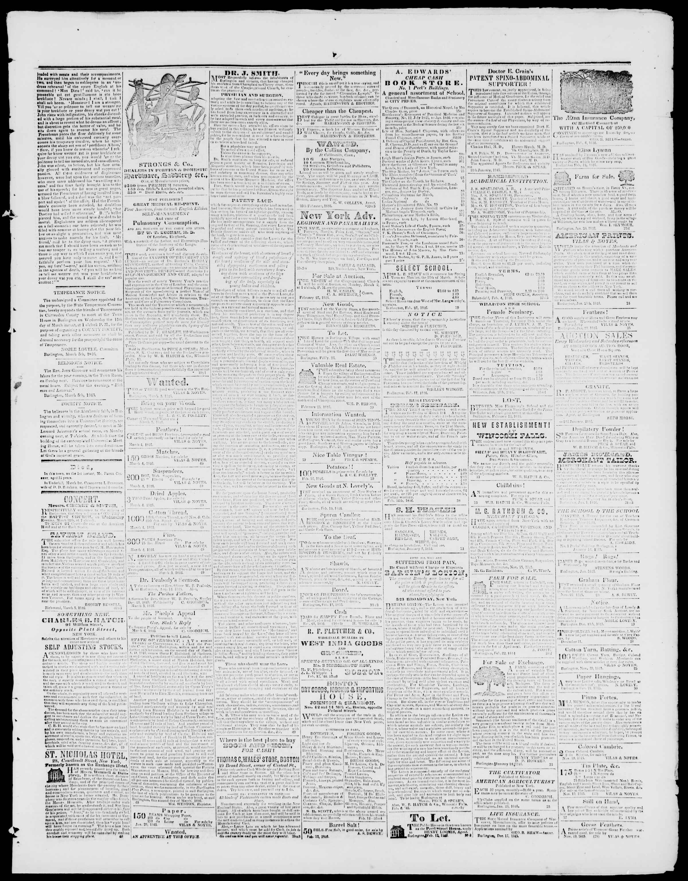Newspaper of Burlington Free Press dated March 6, 1846 Page 3