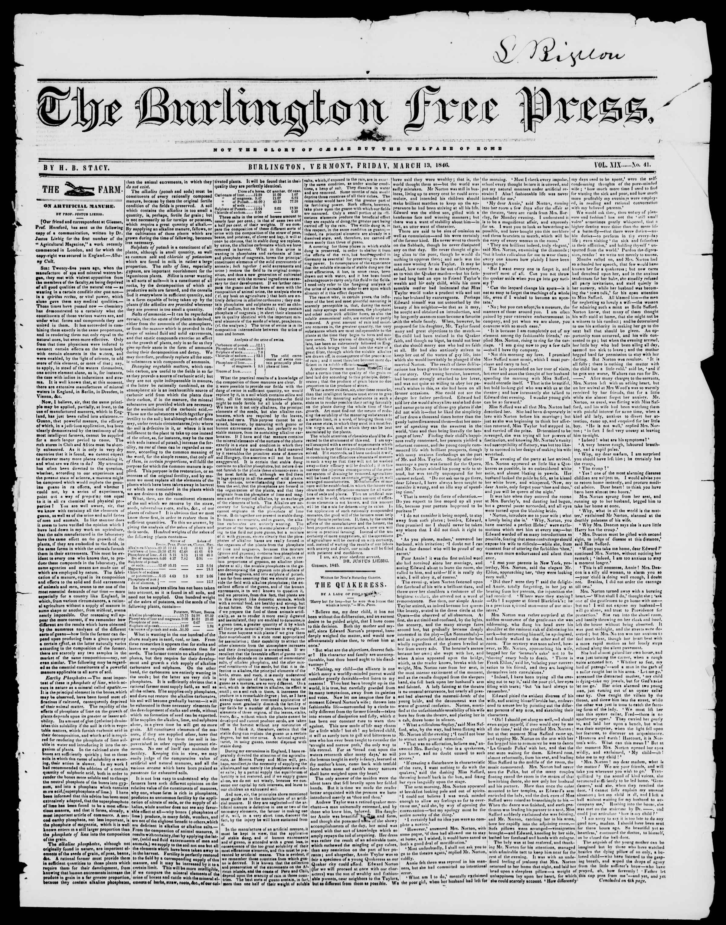 Newspaper of Burlington Free Press dated March 13, 1846 Page 1