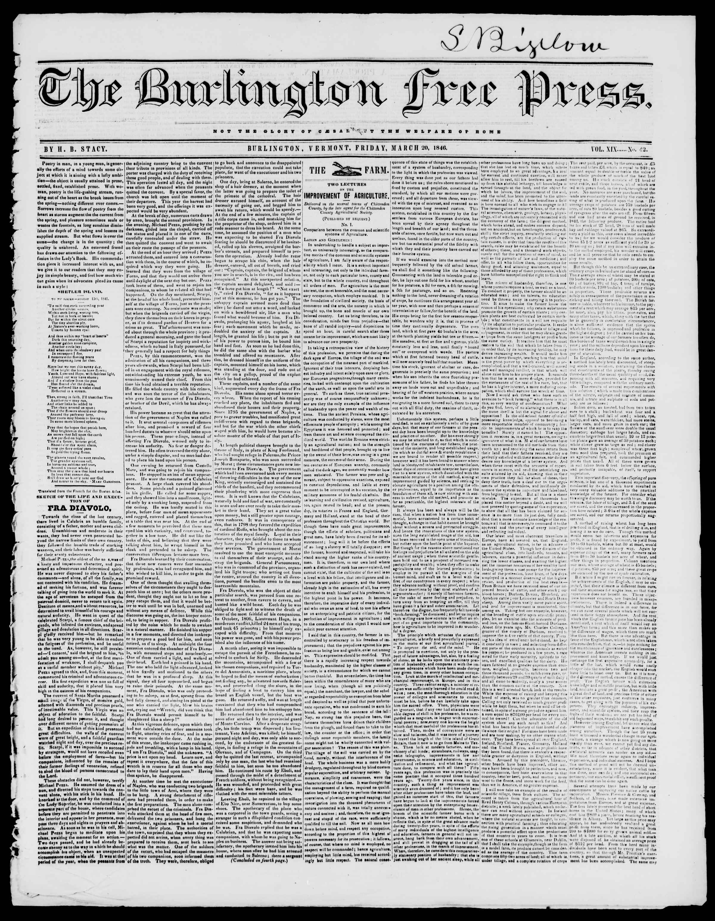 Newspaper of Burlington Free Press dated March 20, 1846 Page 1