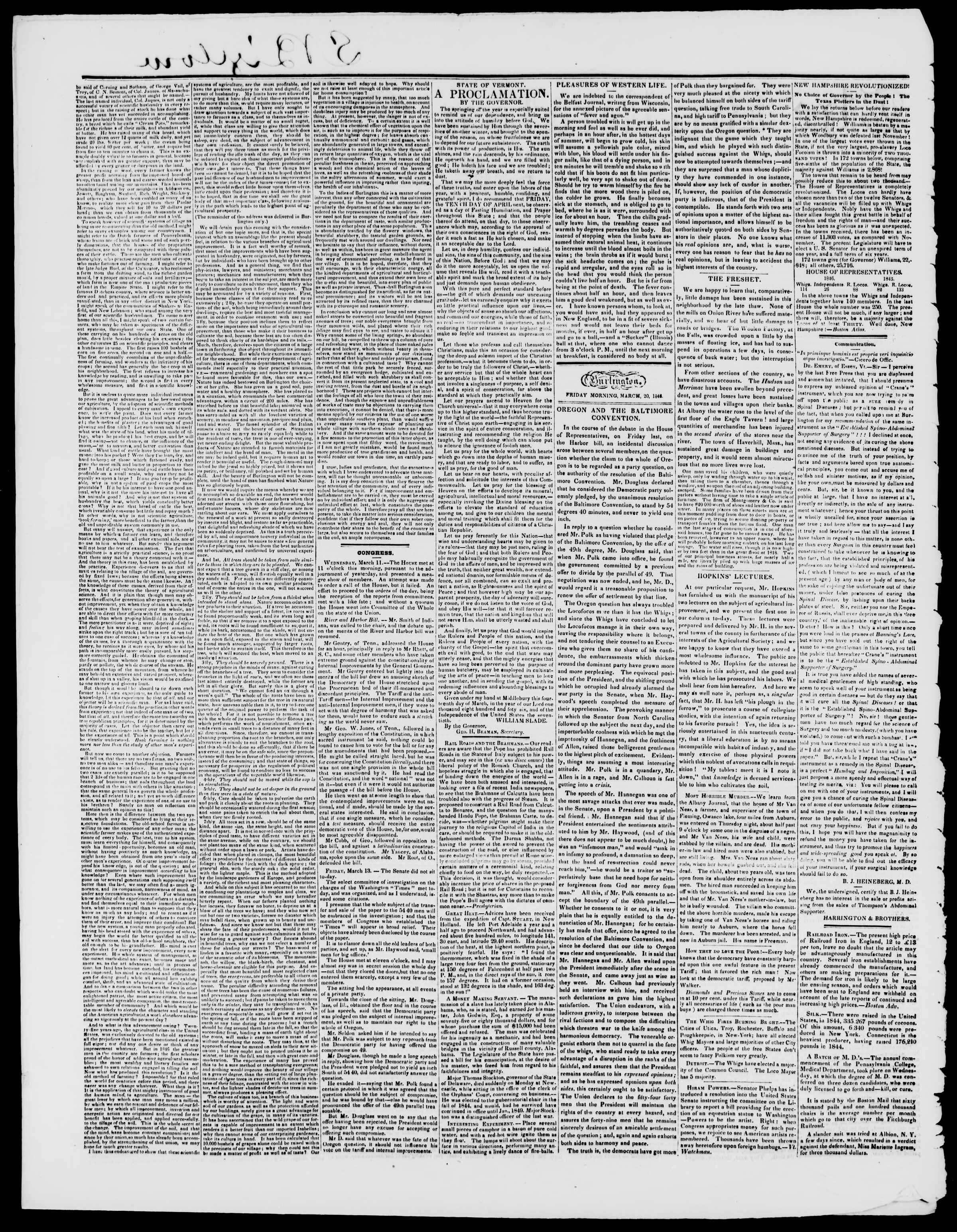 Newspaper of Burlington Free Press dated March 20, 1846 Page 2