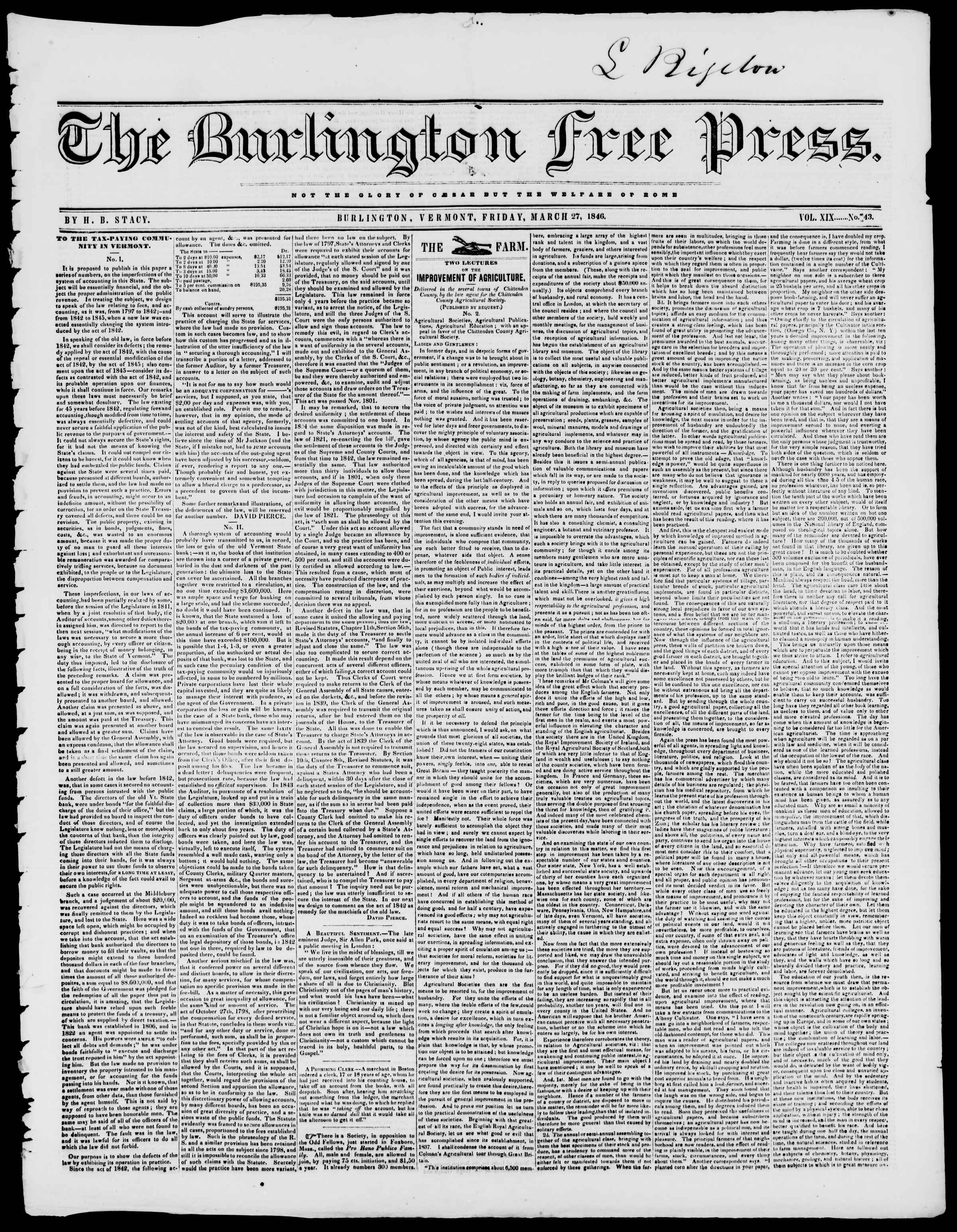 Newspaper of Burlington Free Press dated March 27, 1846 Page 1