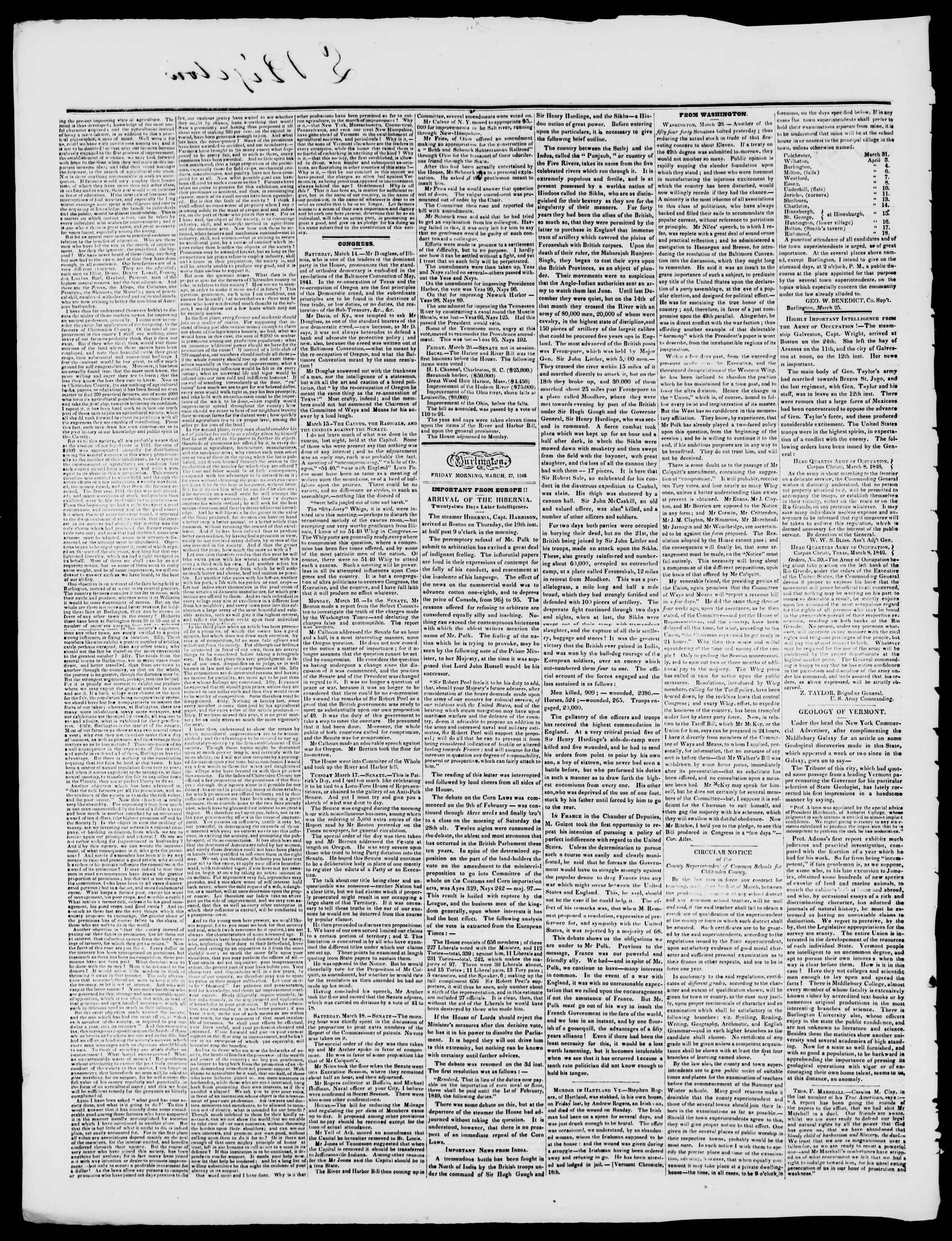 Newspaper of Burlington Free Press dated March 27, 1846 Page 2