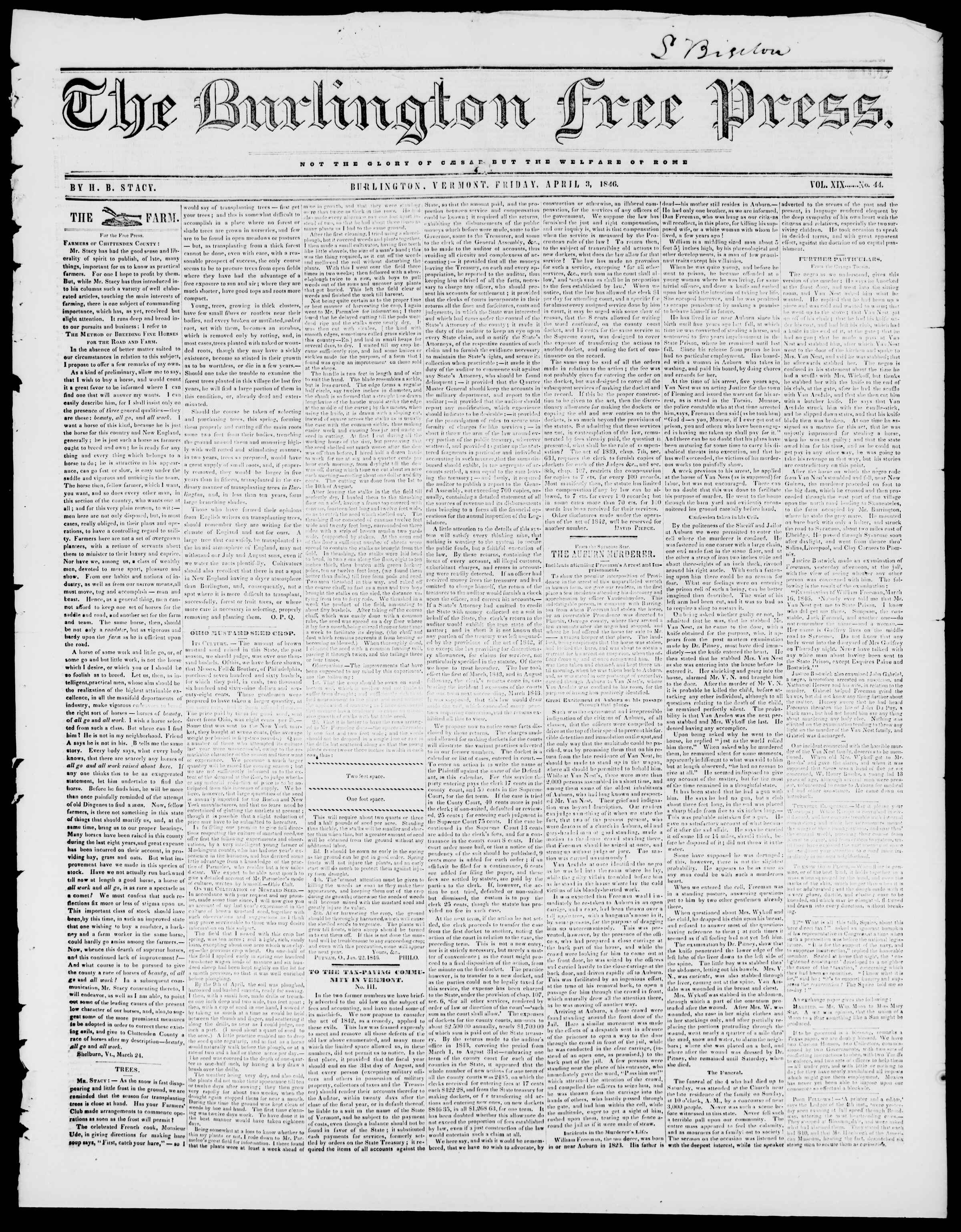 Newspaper of Burlington Free Press dated April 3, 1846 Page 1