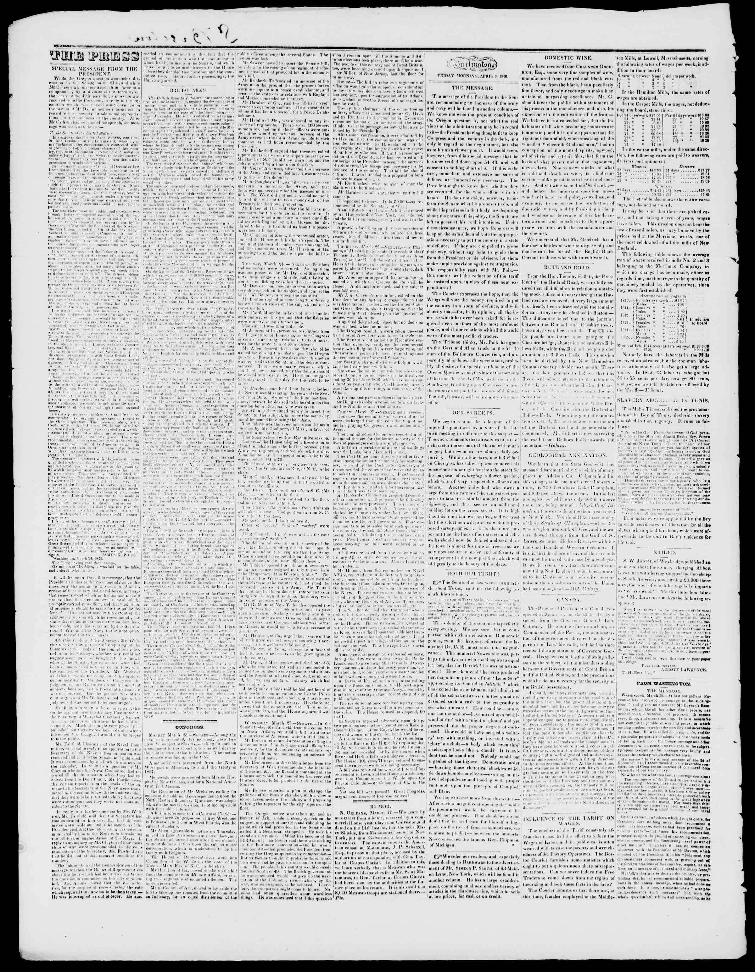 Newspaper of Burlington Free Press dated April 3, 1846 Page 2