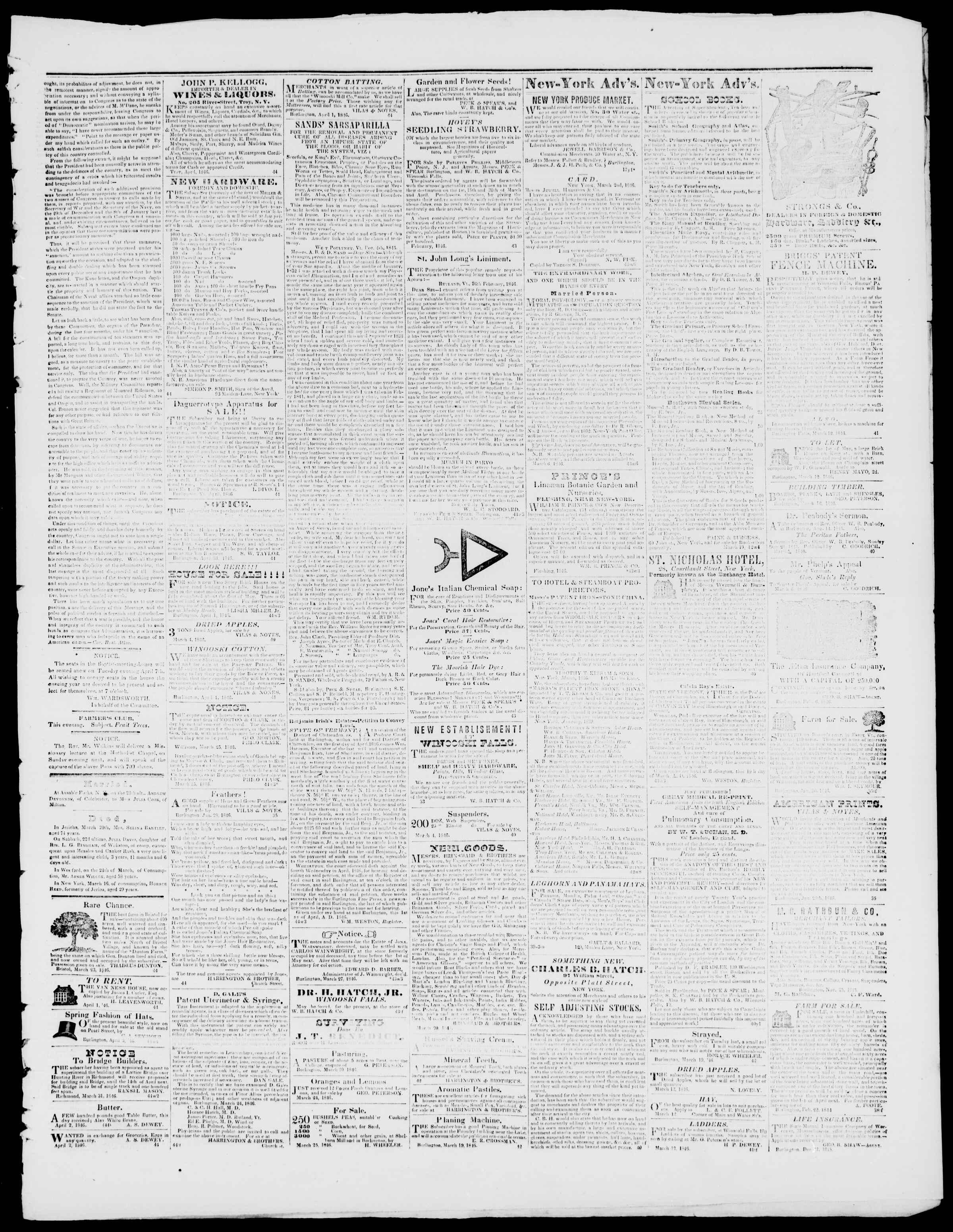 Newspaper of Burlington Free Press dated April 3, 1846 Page 3