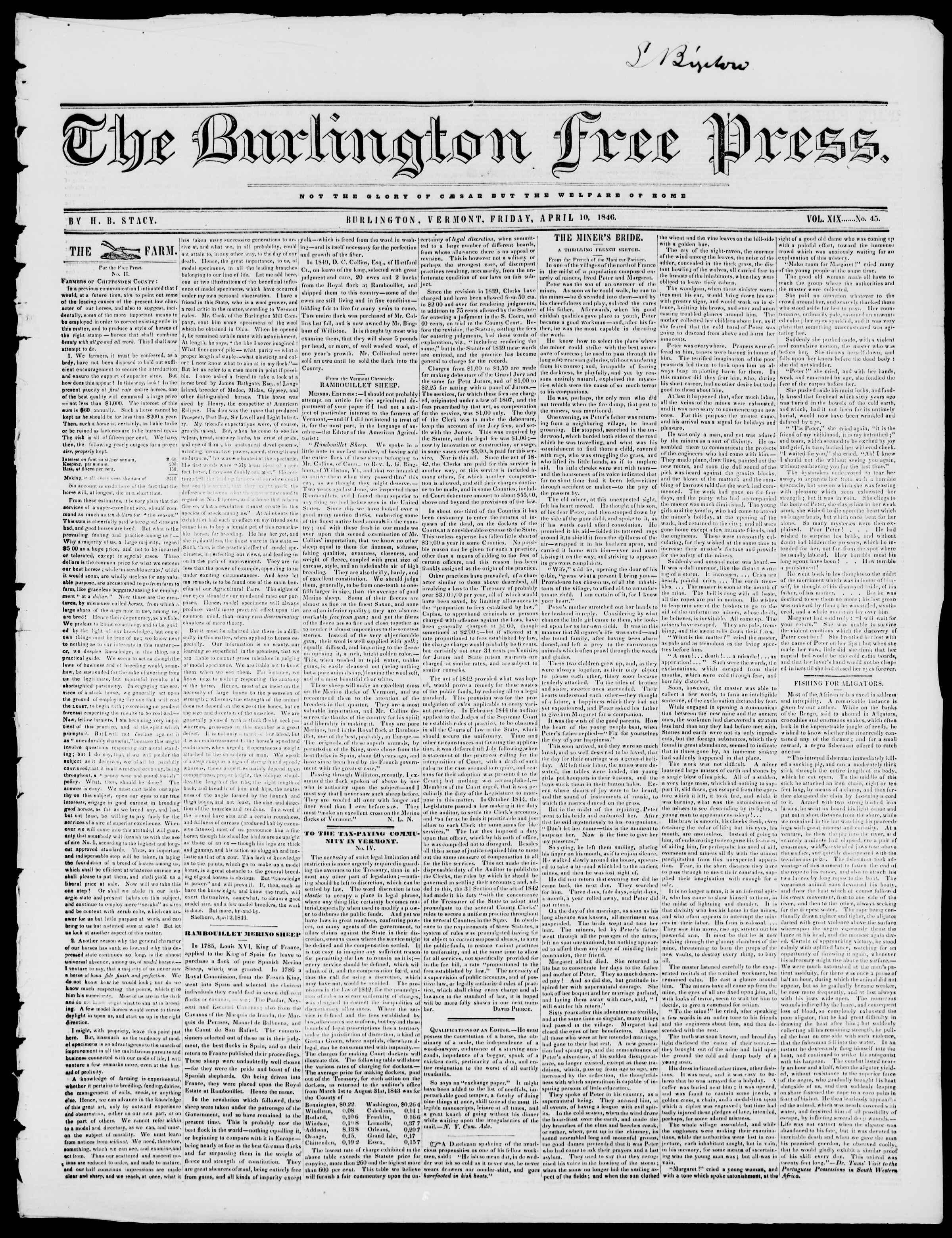 Newspaper of Burlington Free Press dated April 10, 1846 Page 1