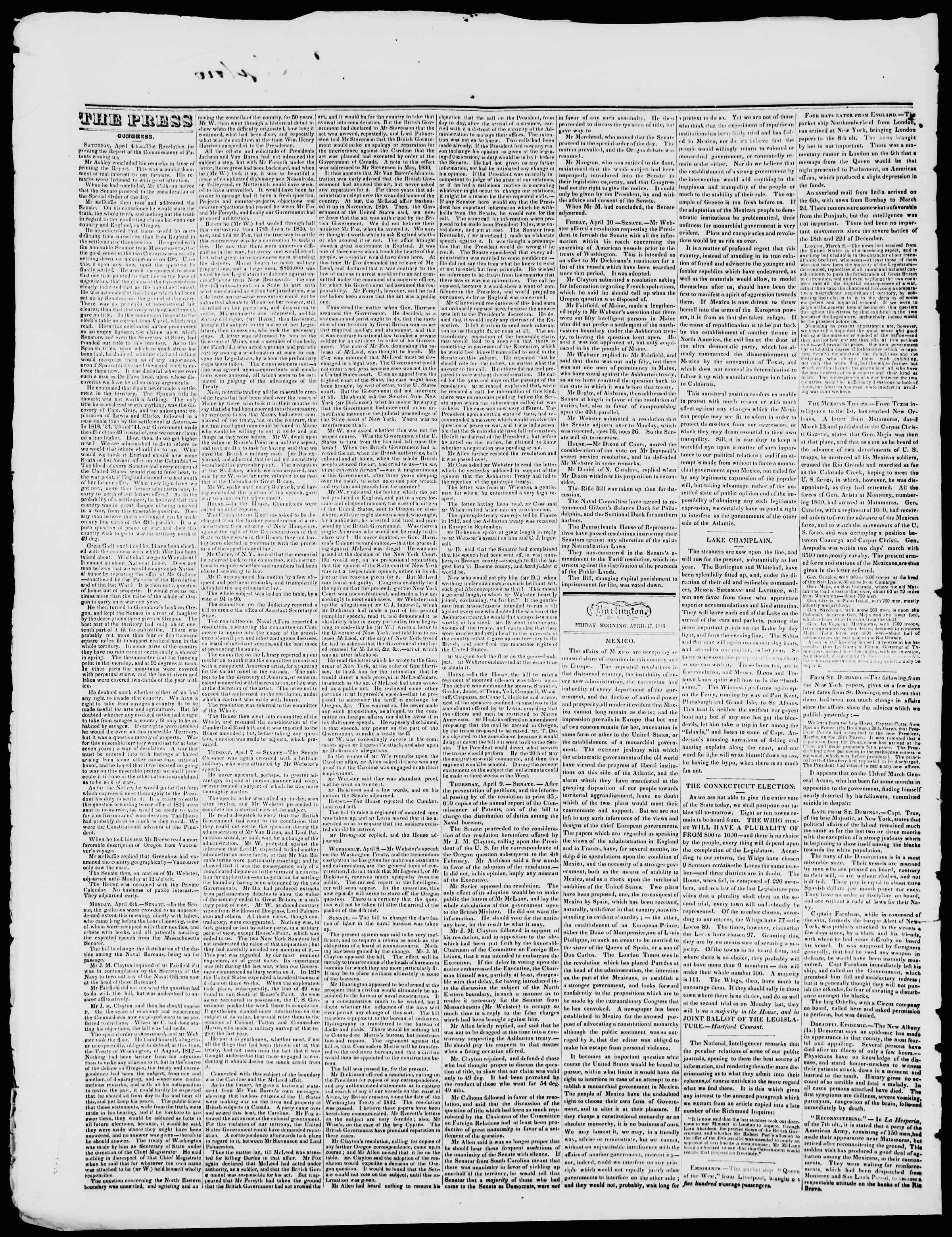 Newspaper of Burlington Free Press dated April 17, 1846 Page 2