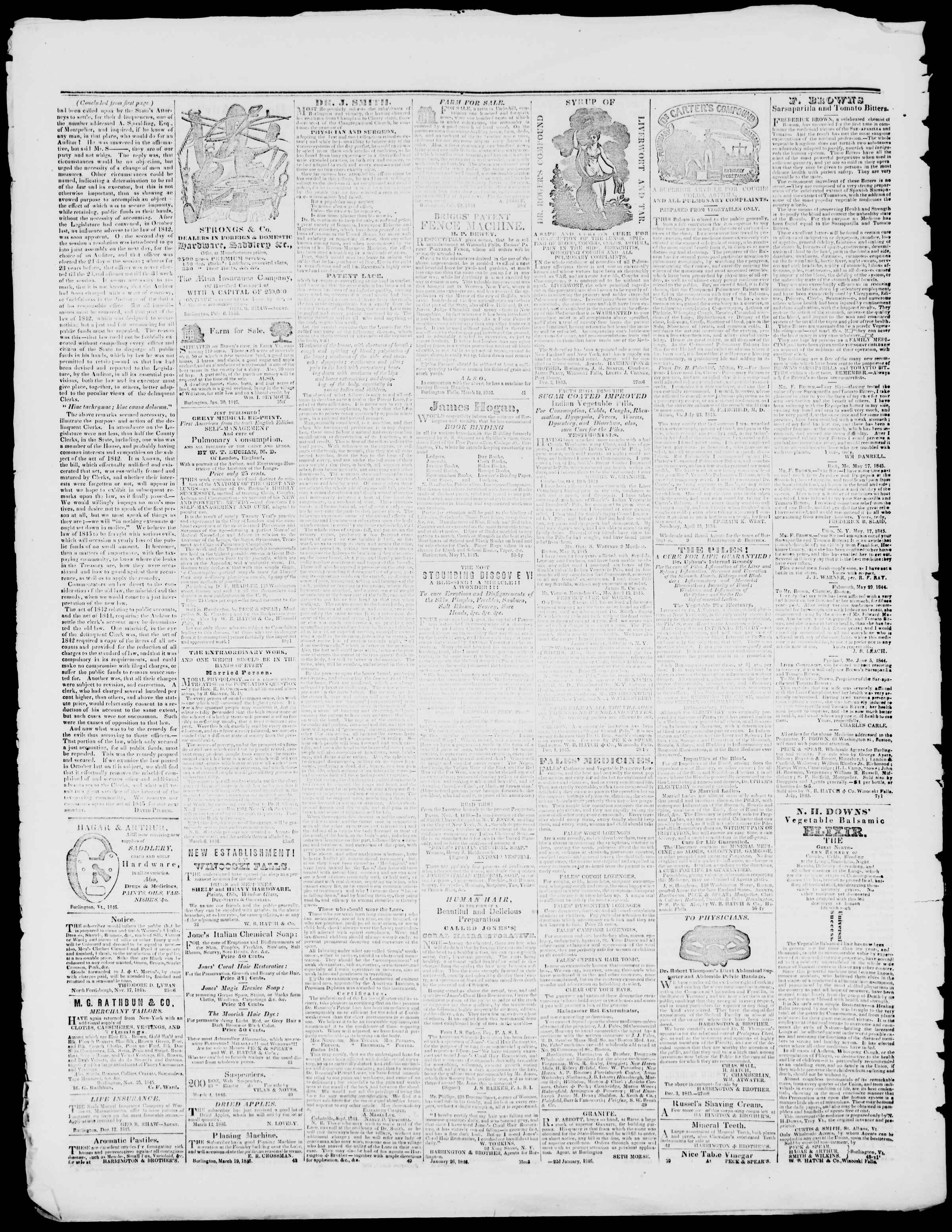Newspaper of Burlington Free Press dated April 17, 1846 Page 4