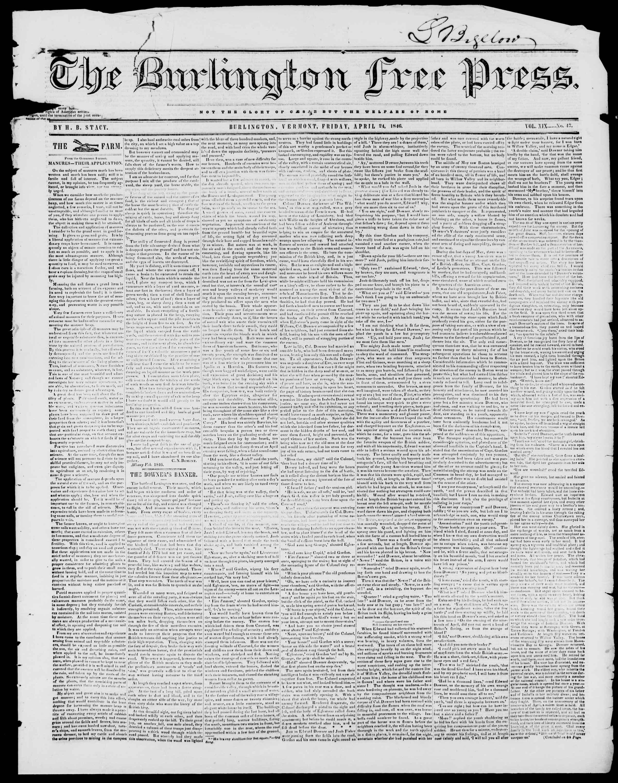 Newspaper of Burlington Free Press dated April 24, 1846 Page 1