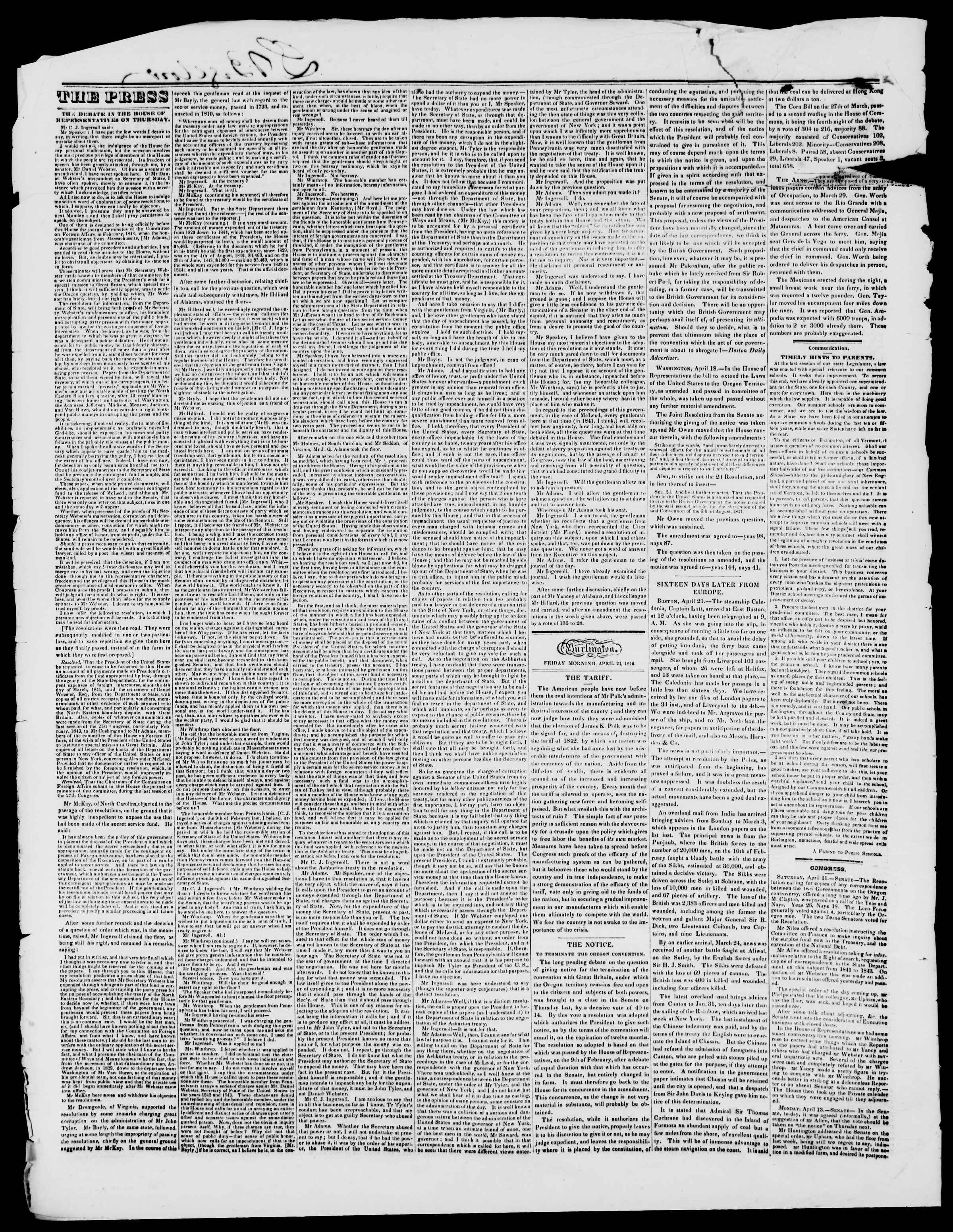 Newspaper of Burlington Free Press dated April 24, 1846 Page 2