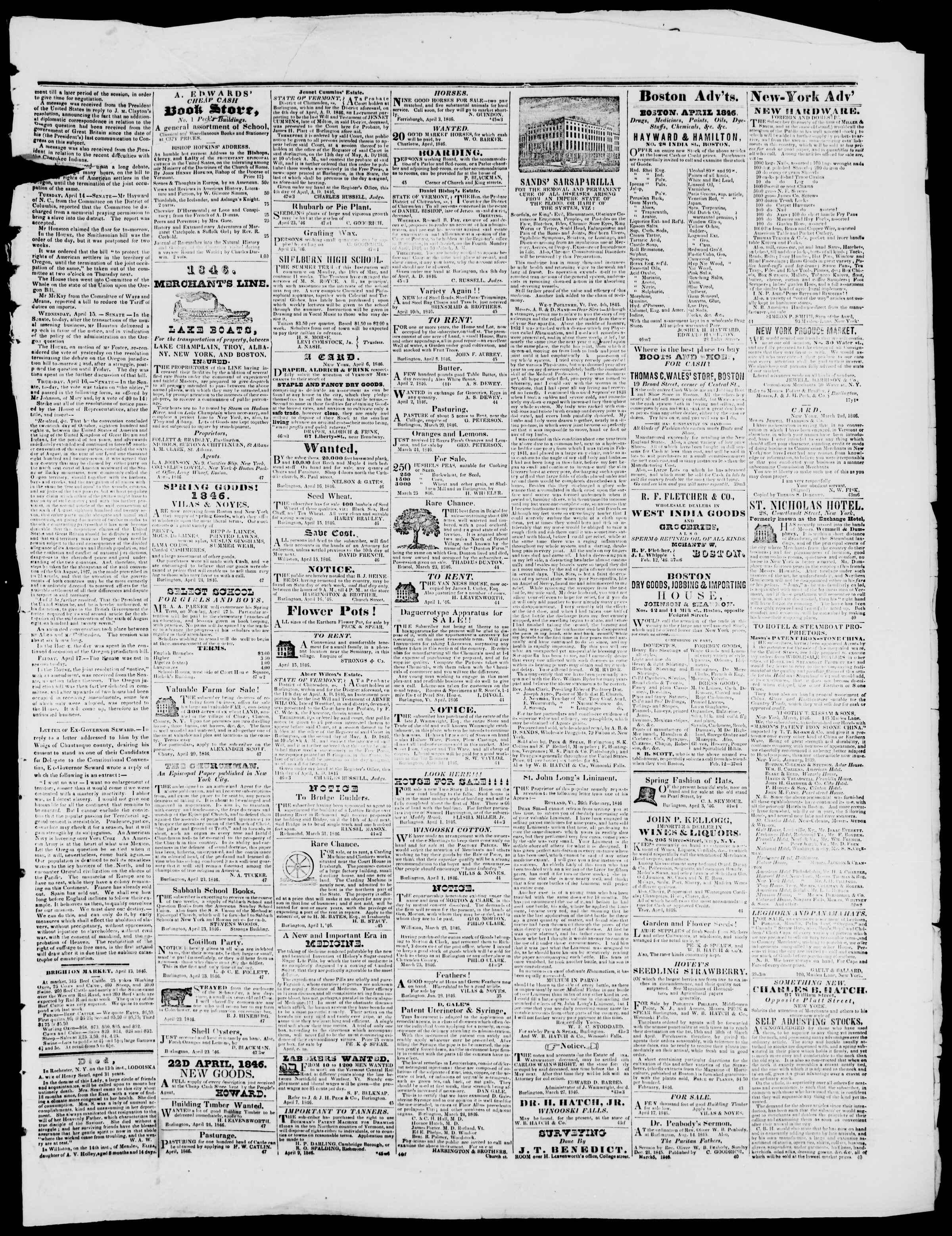 Newspaper of Burlington Free Press dated April 24, 1846 Page 3