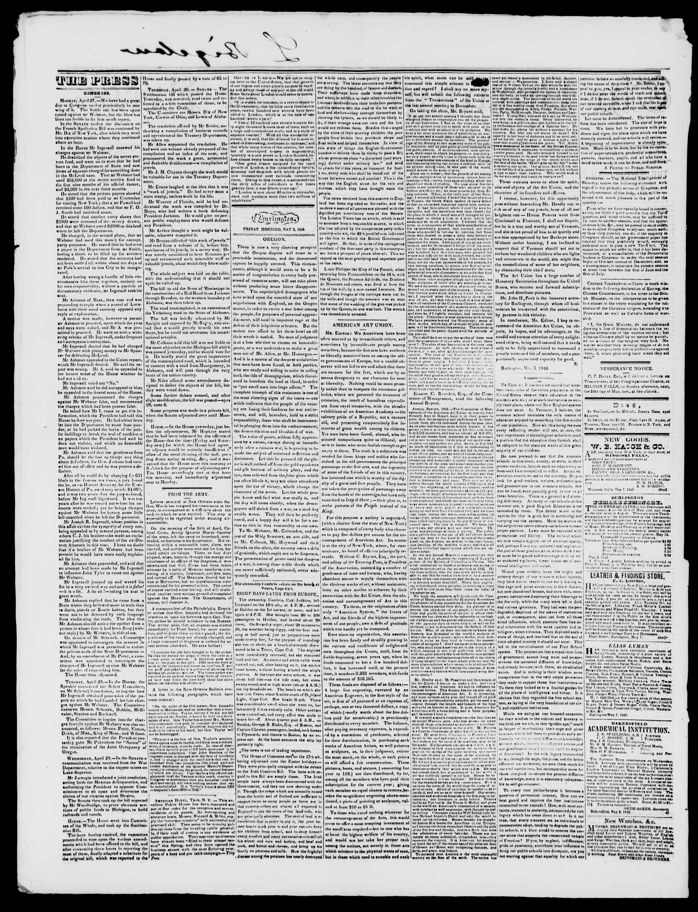 Newspaper of Burlington Free Press dated May 8, 1846 Page 2