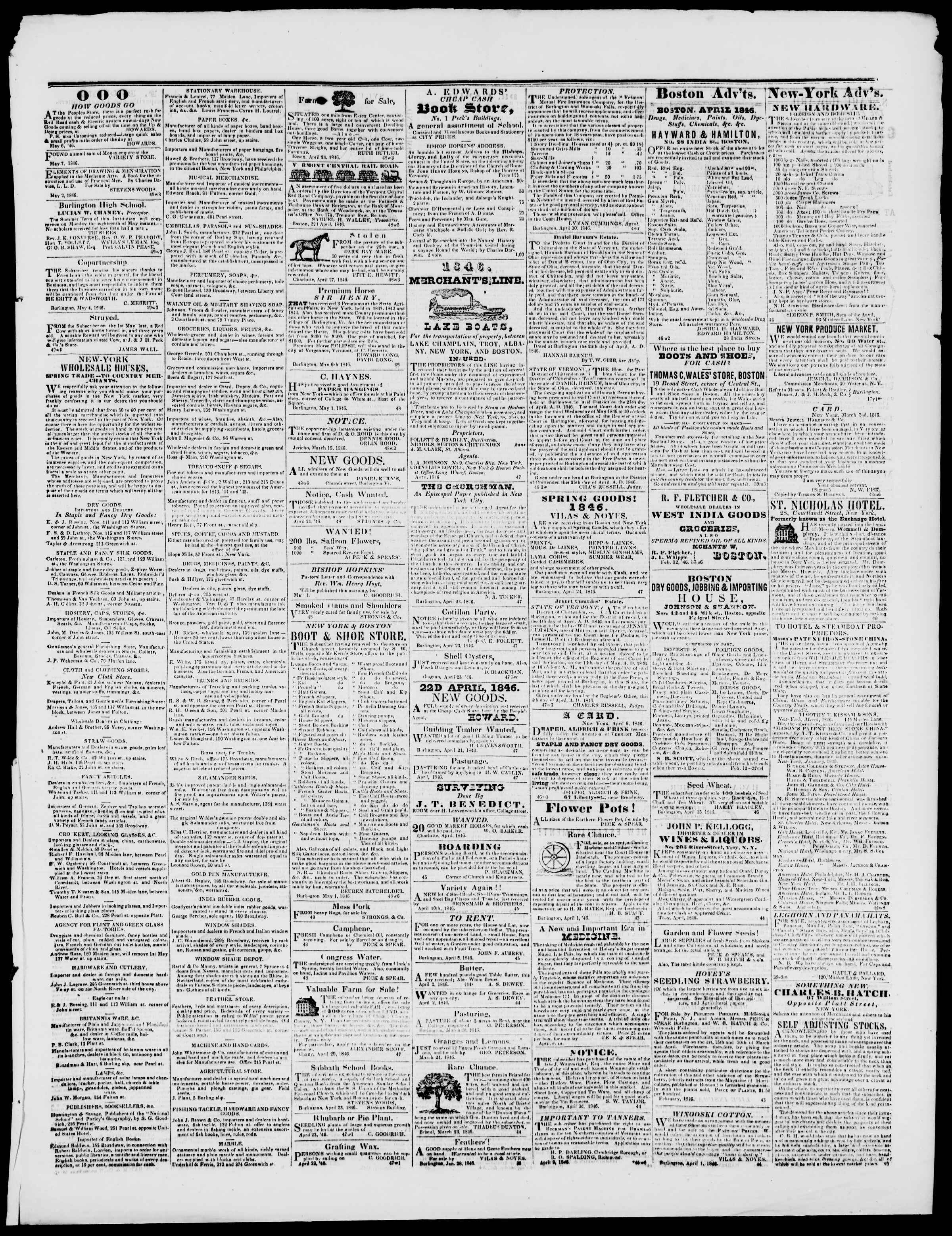 Newspaper of Burlington Free Press dated May 8, 1846 Page 3