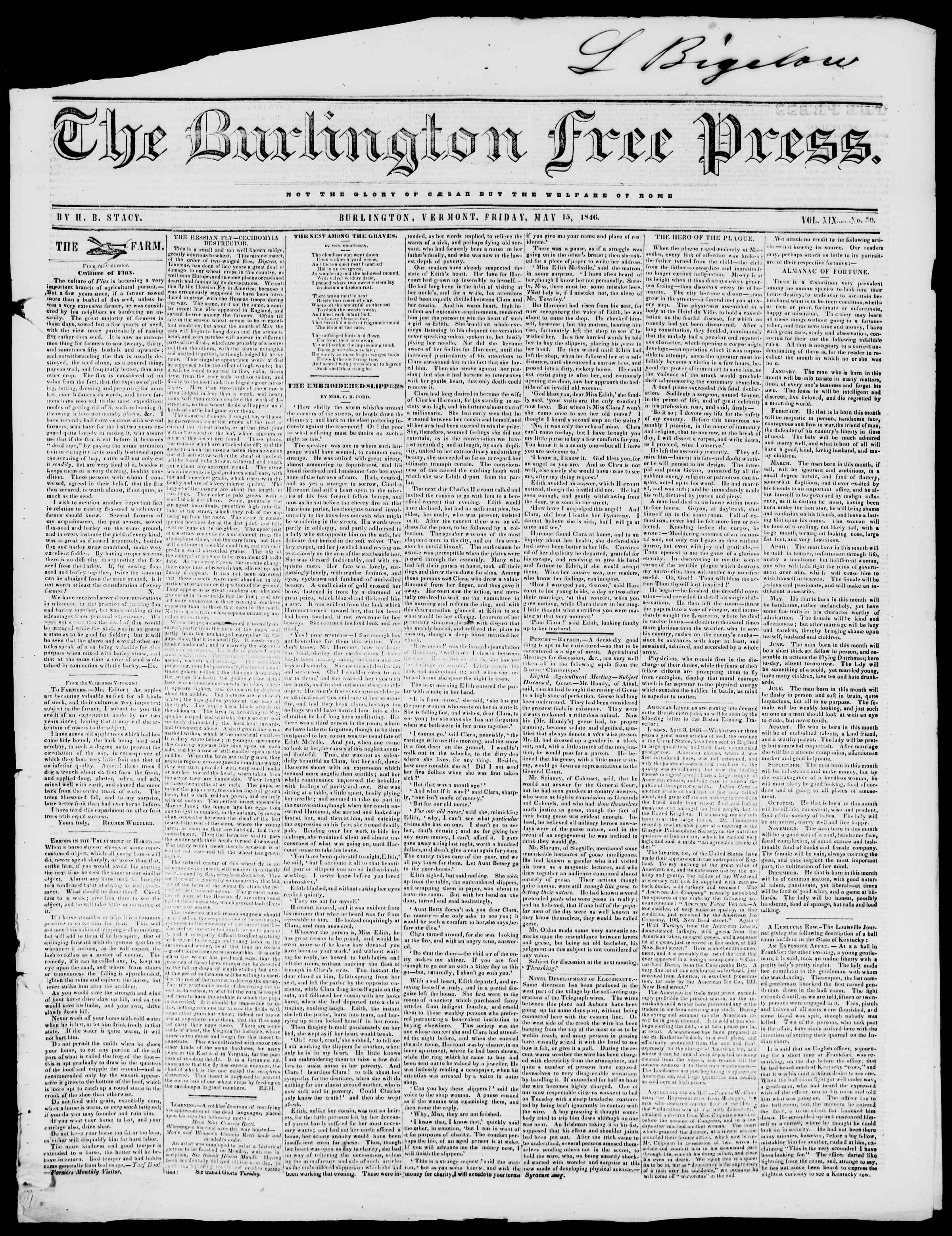 Newspaper of Burlington Free Press dated May 15, 1846 Page 1
