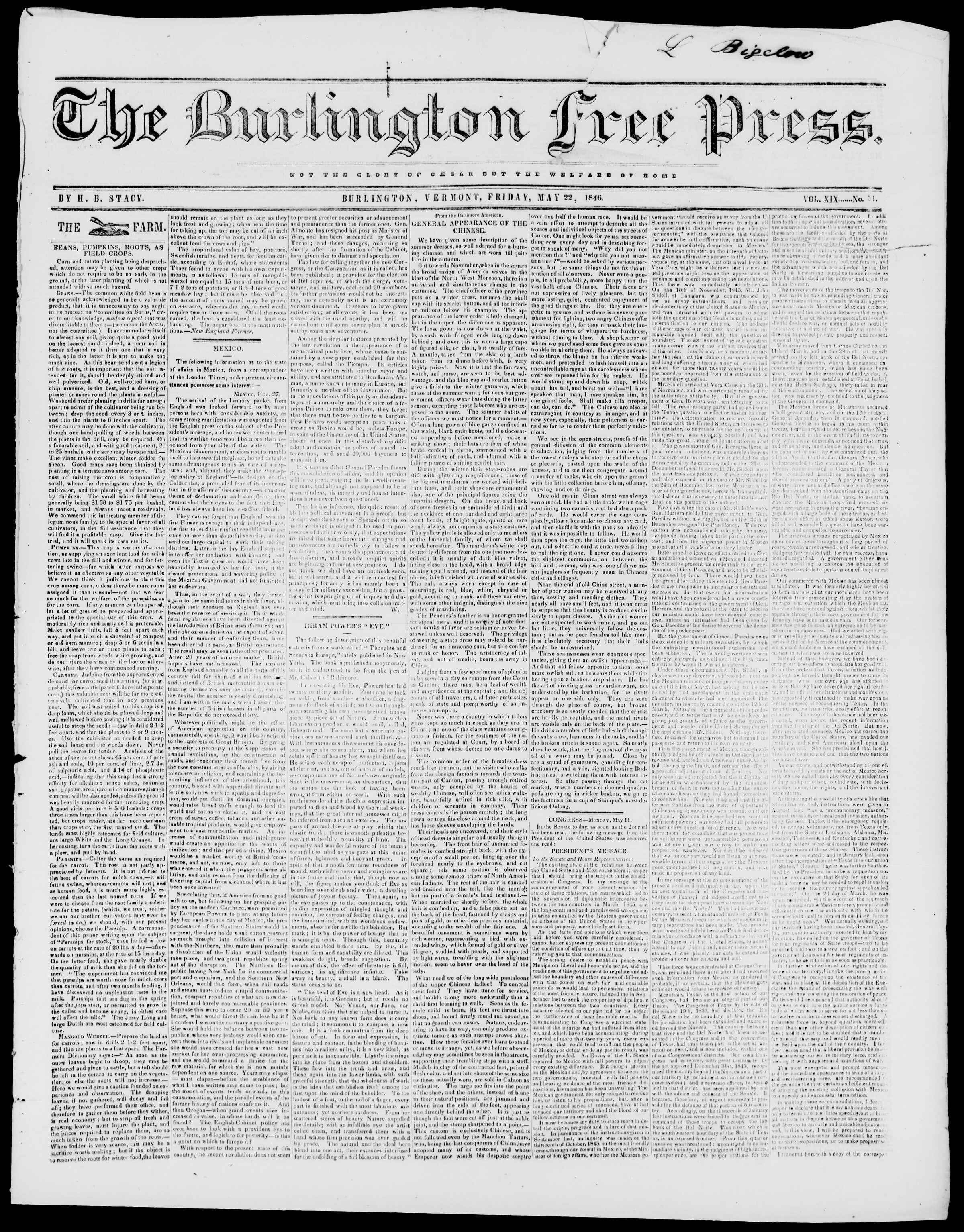 Newspaper of Burlington Free Press dated May 22, 1846 Page 1