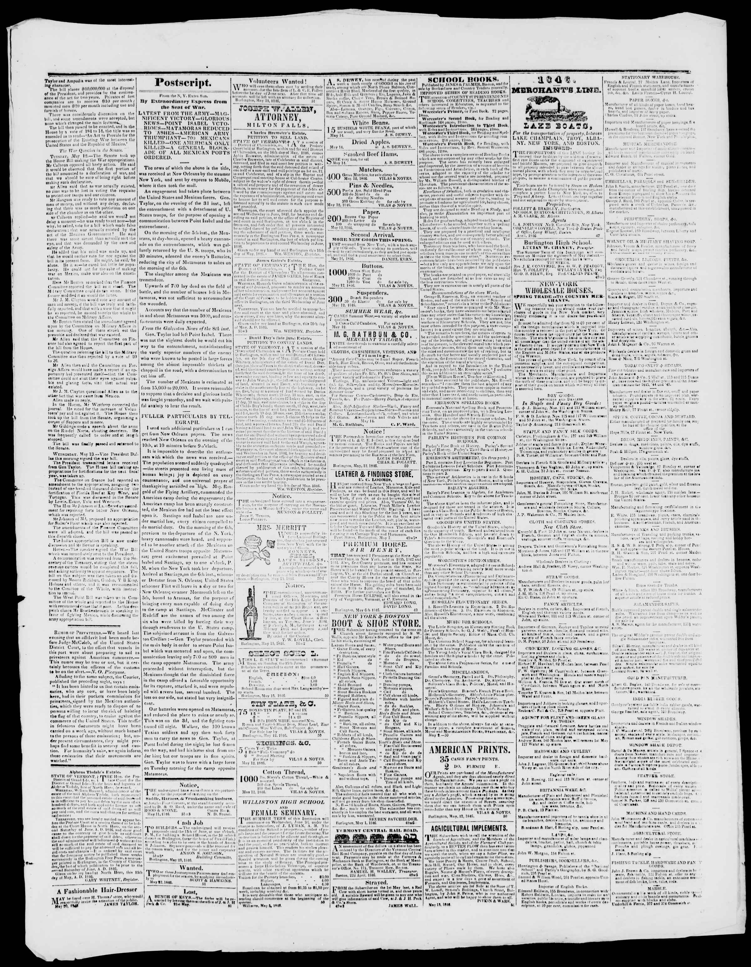 Newspaper of Burlington Free Press dated May 22, 1846 Page 3