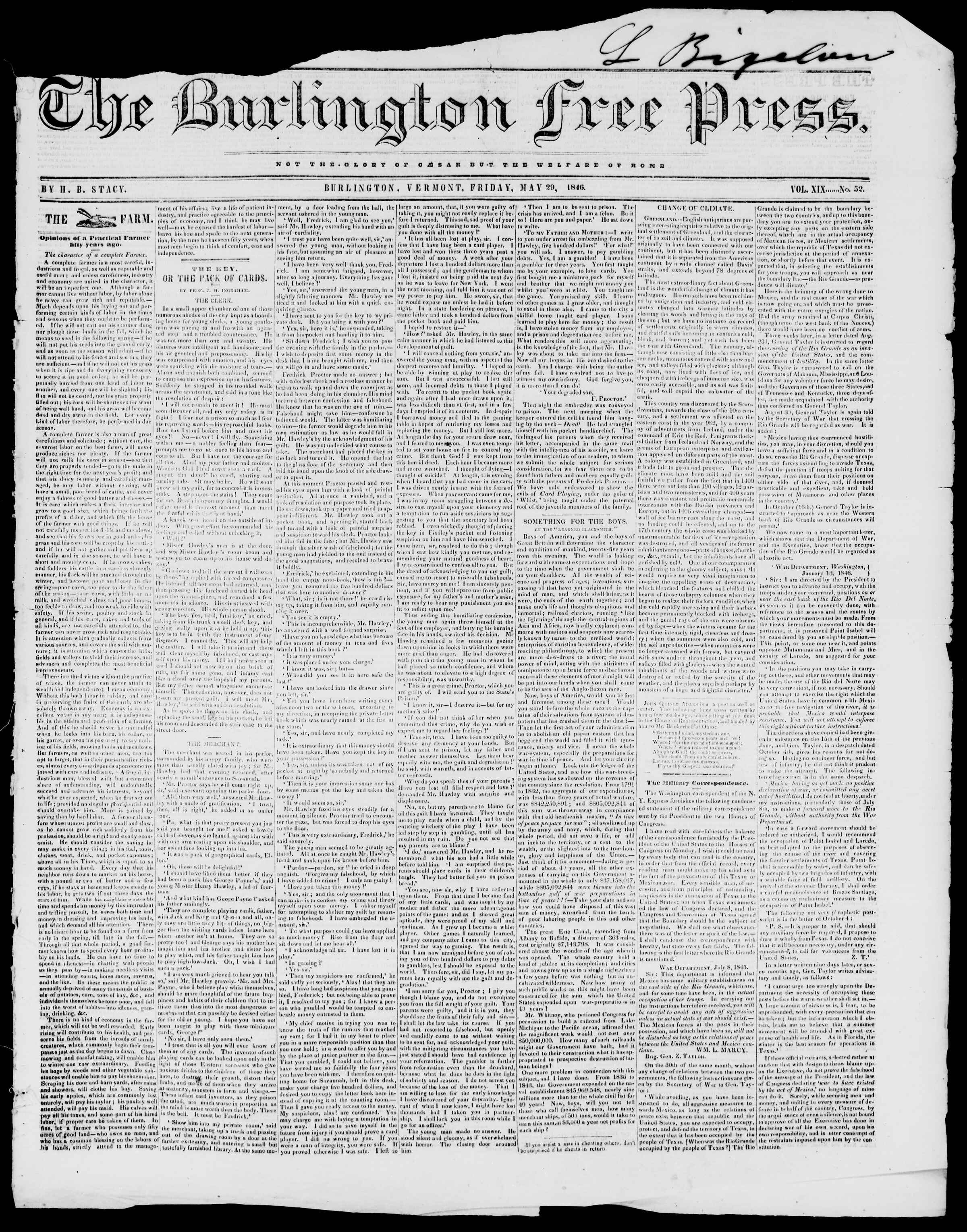 Newspaper of Burlington Free Press dated May 29, 1846 Page 1