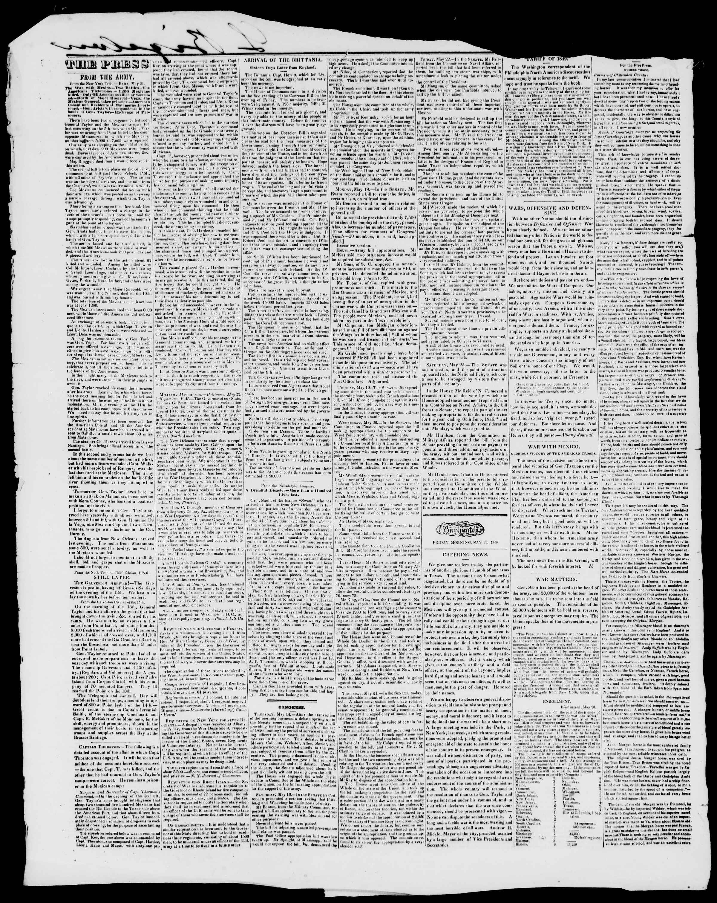 Newspaper of Burlington Free Press dated May 29, 1846 Page 2