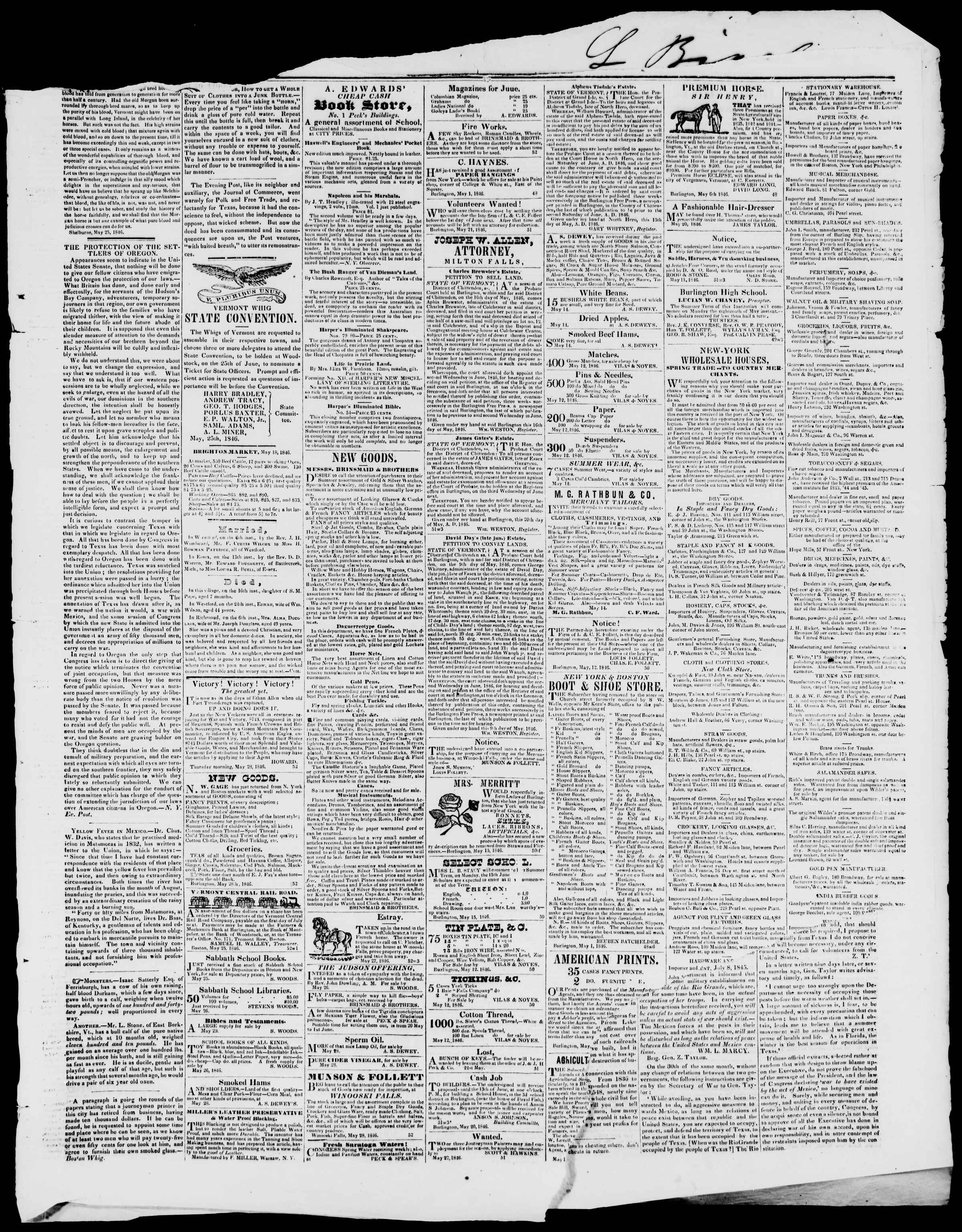 Newspaper of Burlington Free Press dated May 29, 1846 Page 3