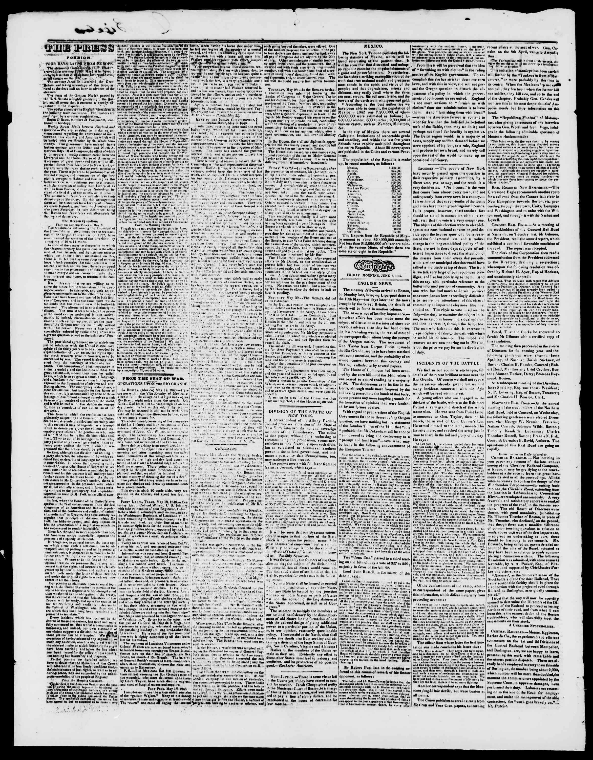 Newspaper of Burlington Free Press dated June 5, 1846 Page 2