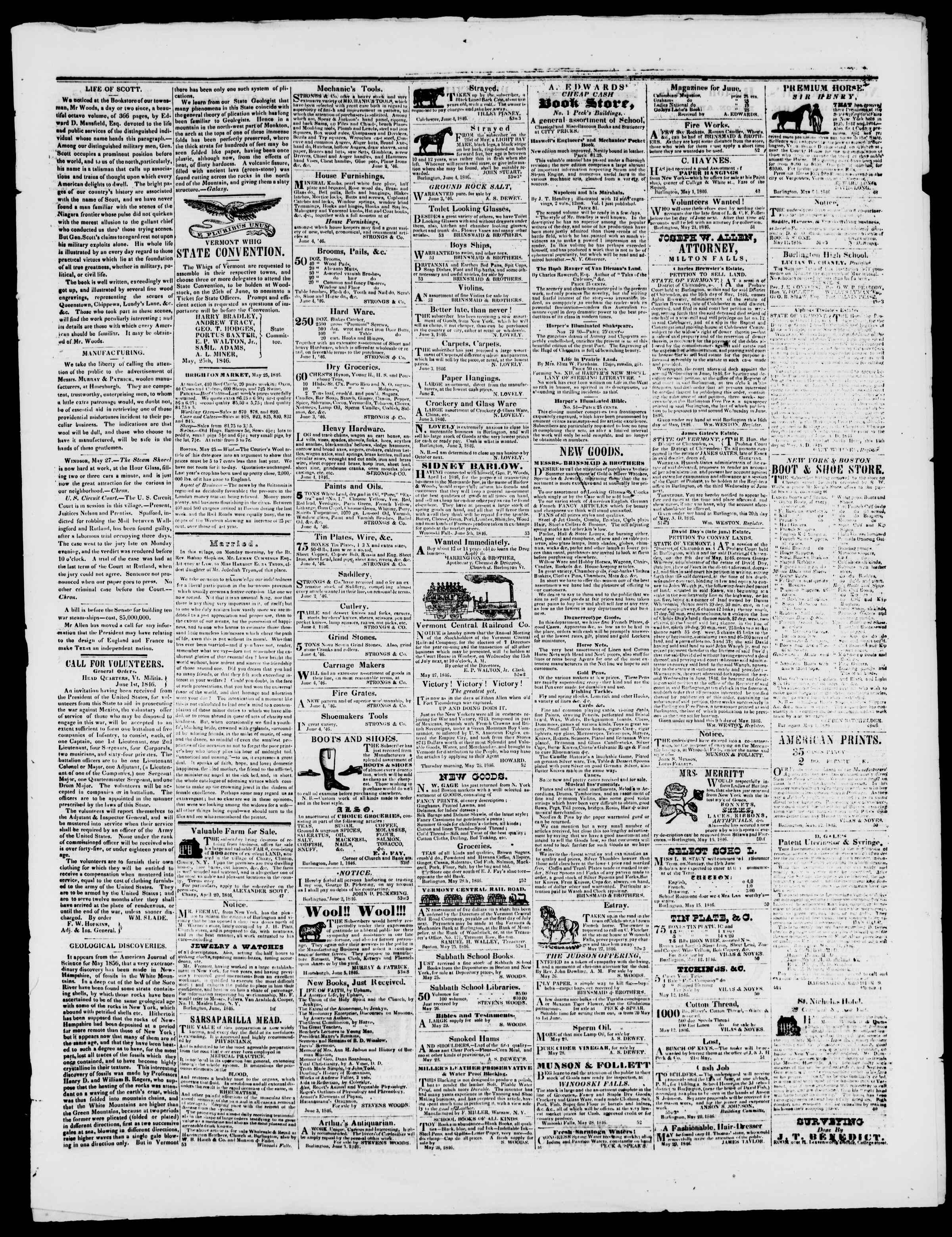 Newspaper of Burlington Free Press dated June 5, 1846 Page 3