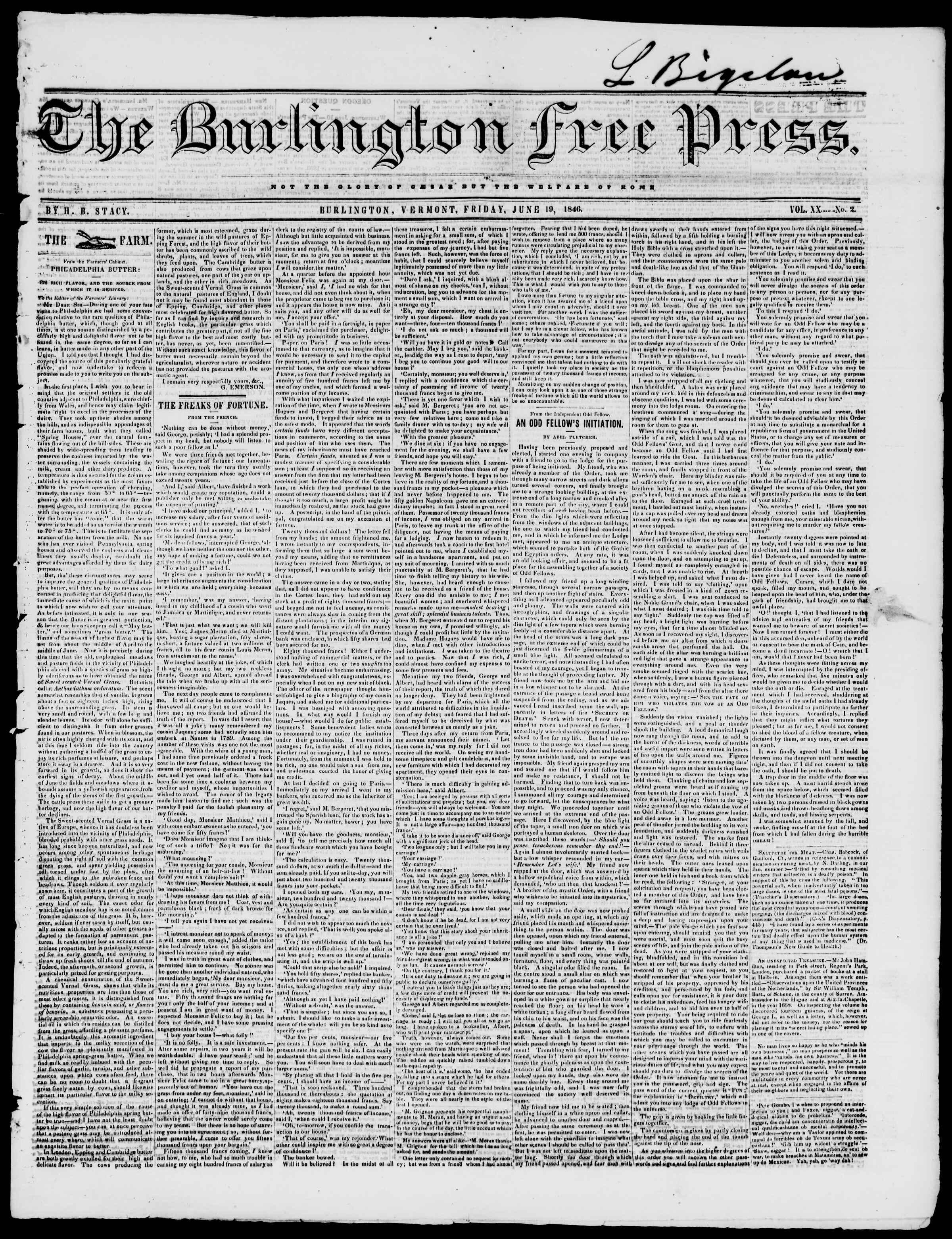 Newspaper of Burlington Free Press dated June 19, 1846 Page 1