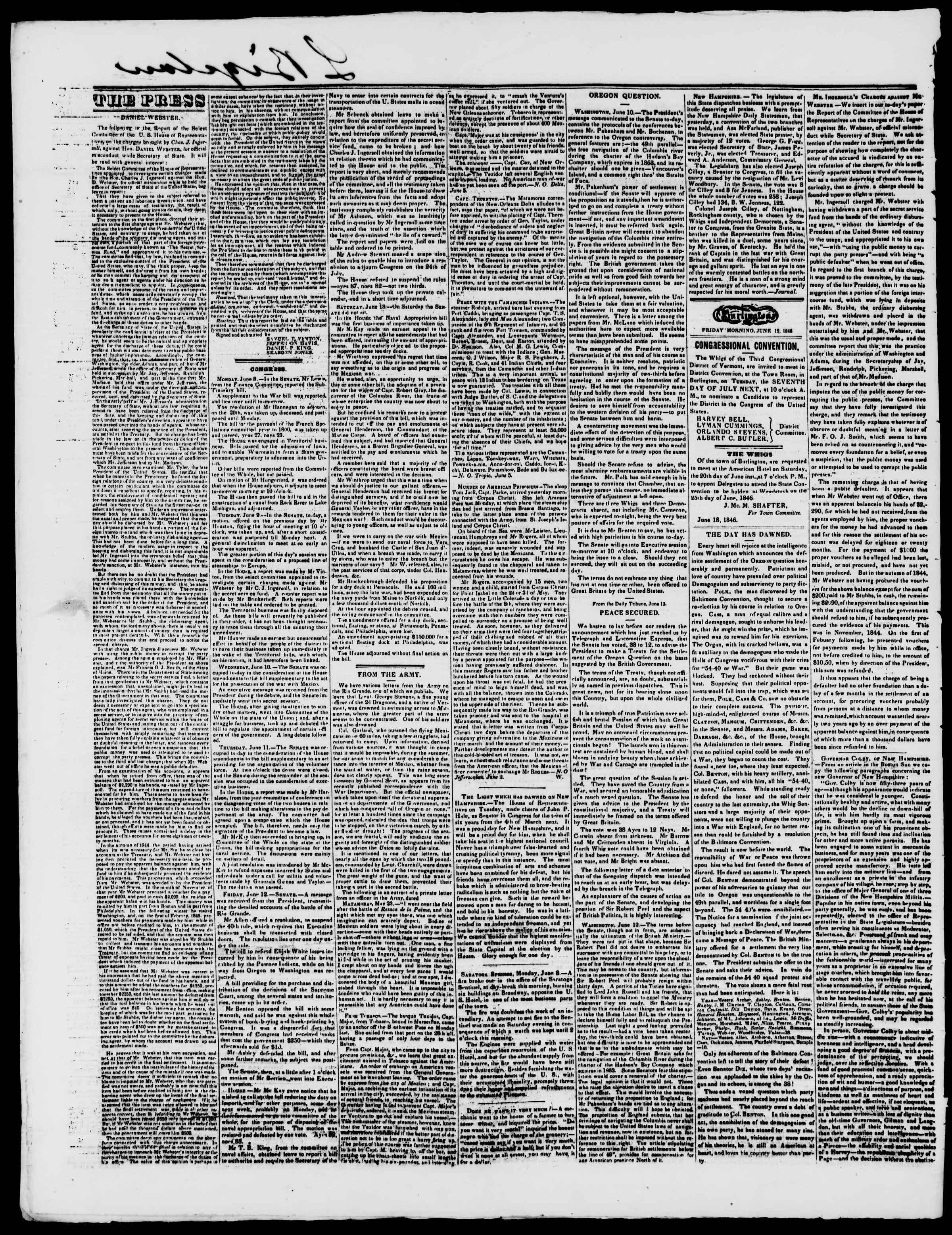 Newspaper of Burlington Free Press dated June 19, 1846 Page 2