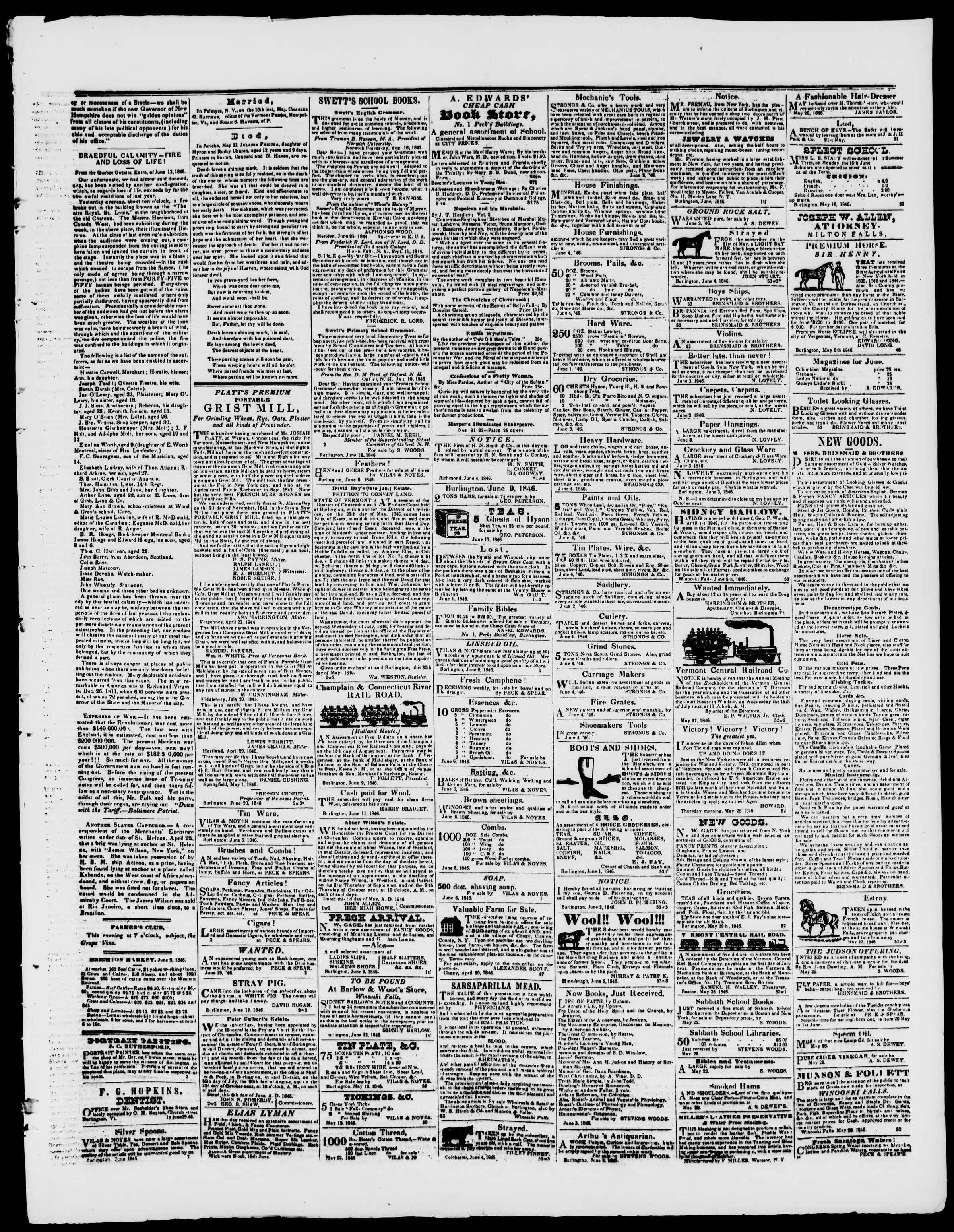 19 Haziran 1846 tarihli Burlington Free Press Gazetesi Sayfa 3