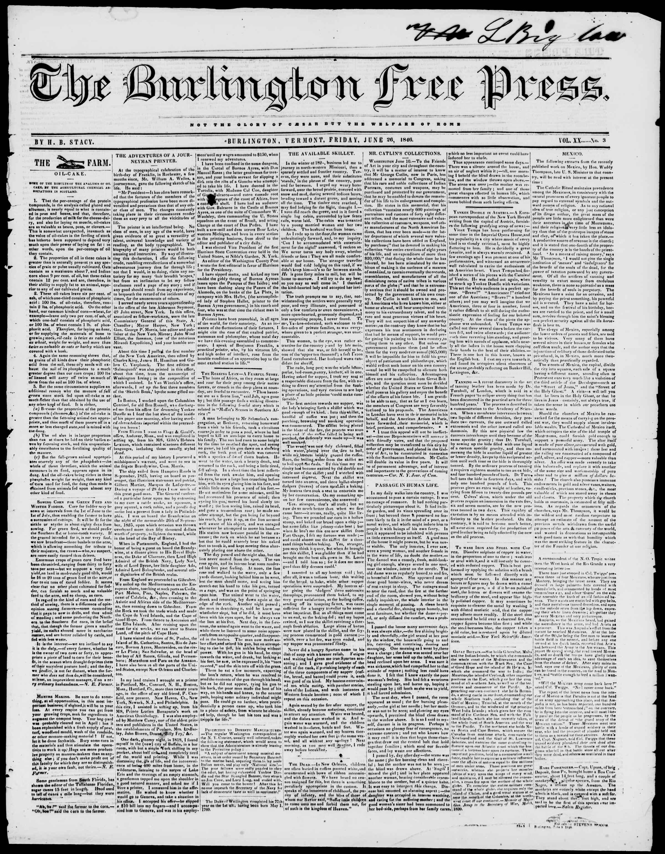 Newspaper of Burlington Free Press dated June 26, 1846 Page 1