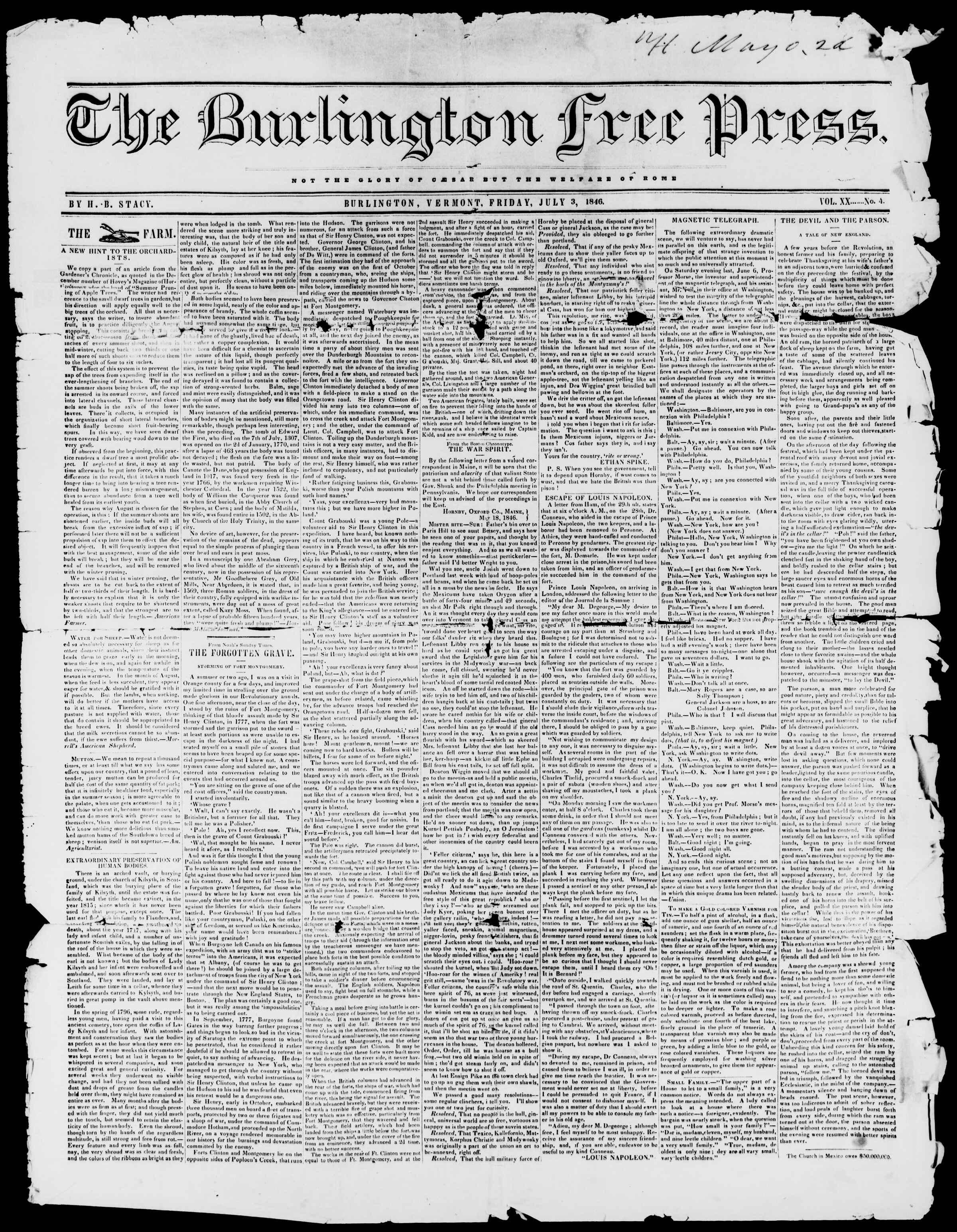 Newspaper of Burlington Free Press dated July 3, 1846 Page 1