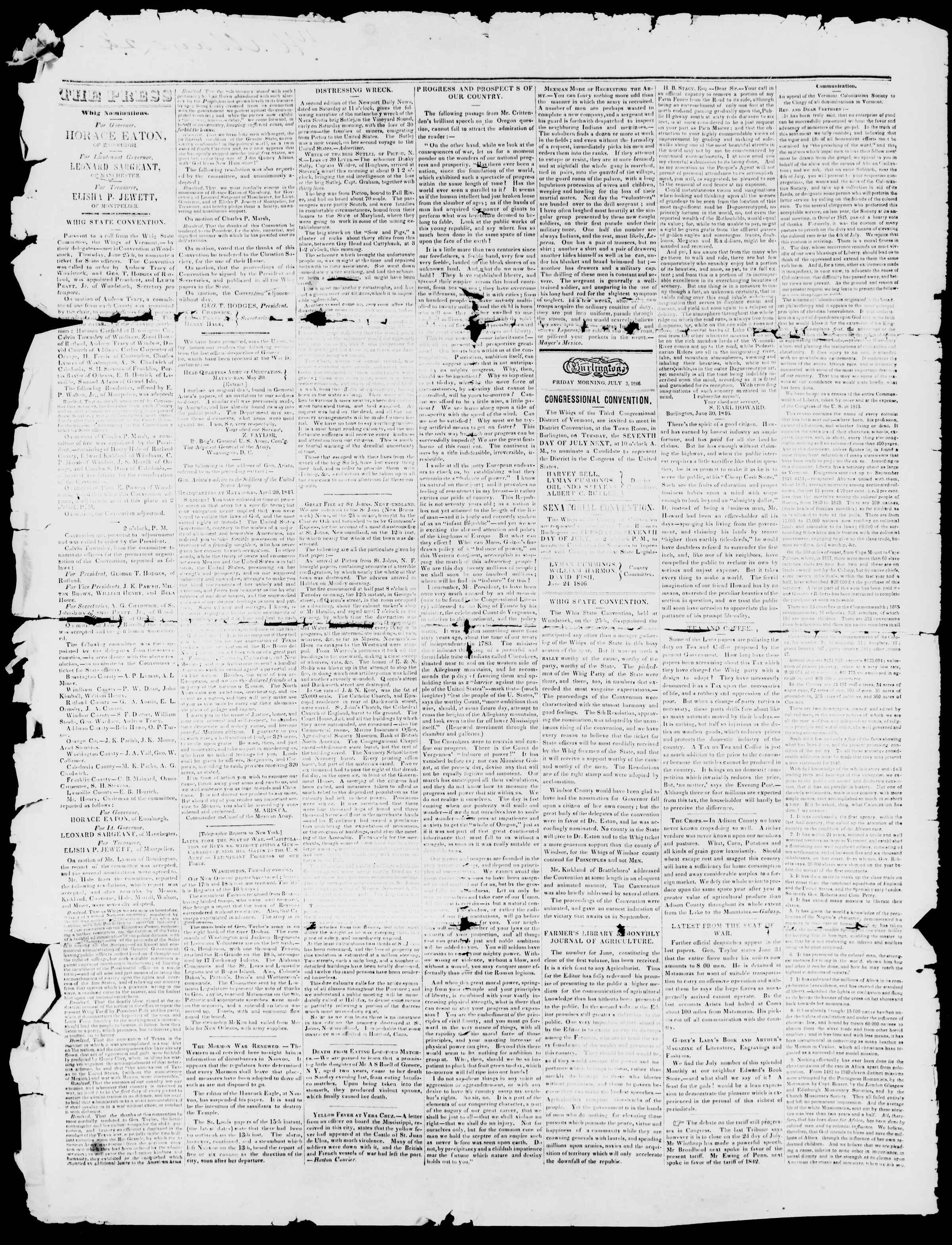Newspaper of Burlington Free Press dated July 3, 1846 Page 2