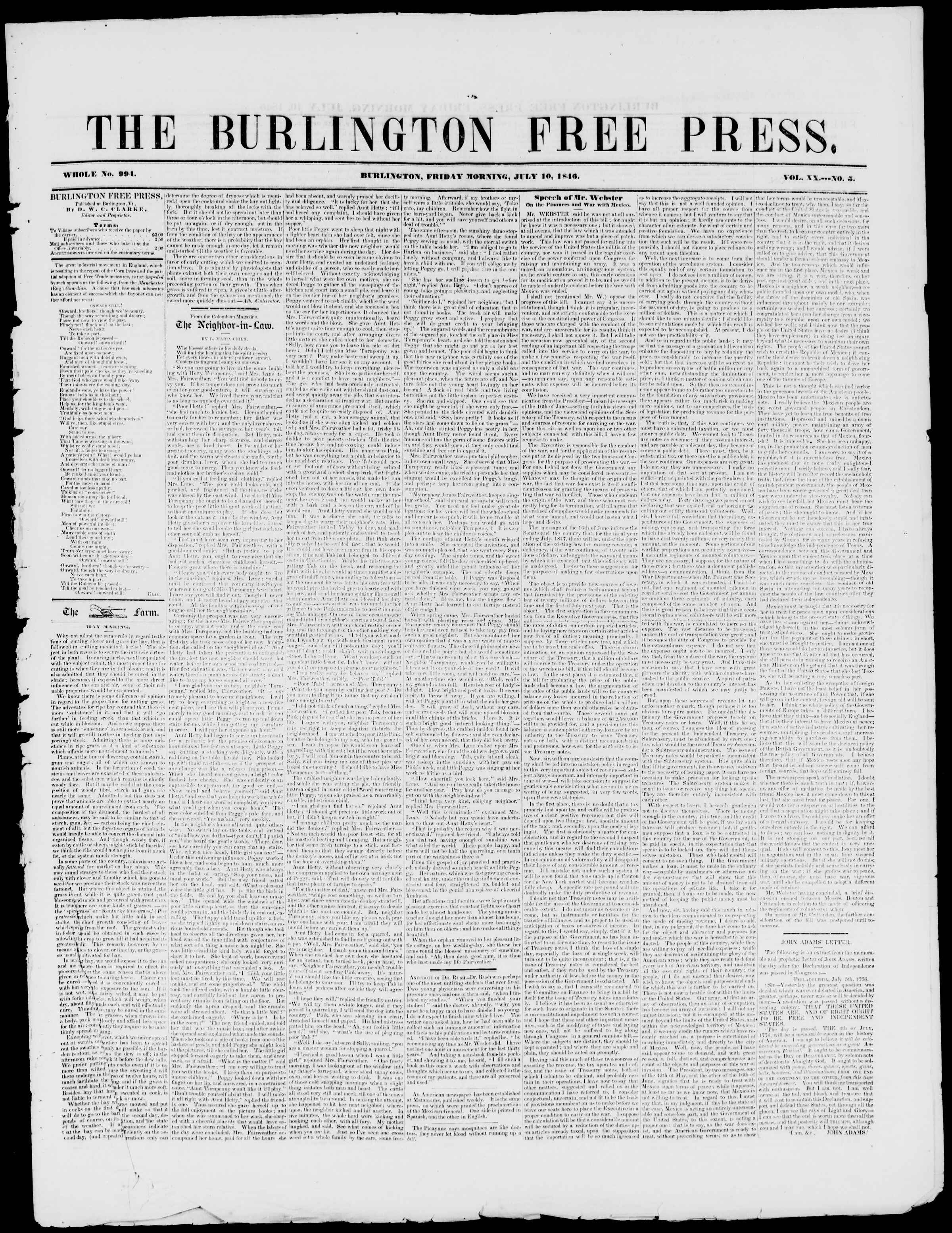 Newspaper of Burlington Free Press dated July 10, 1846 Page 1