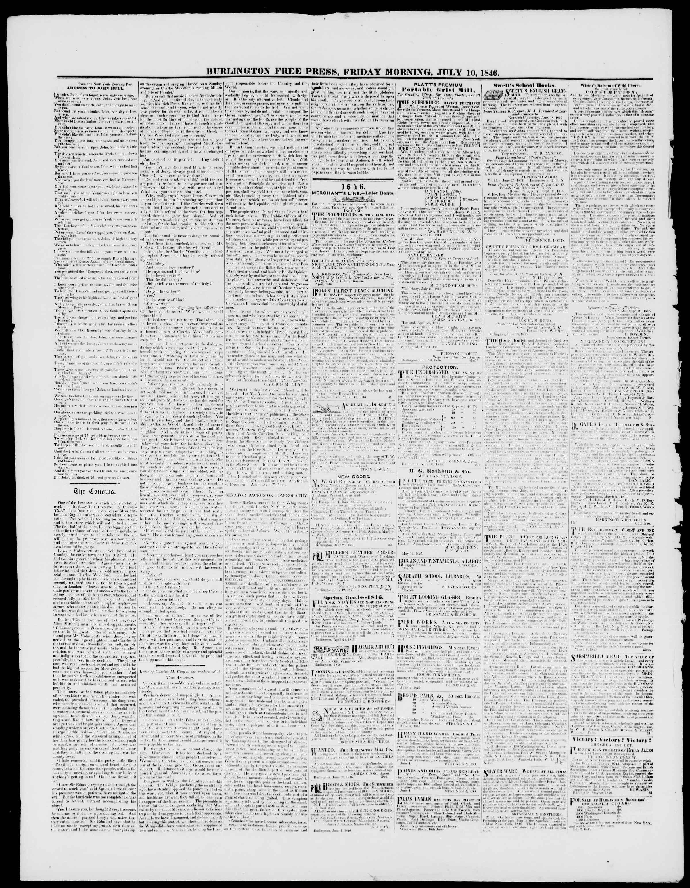 Newspaper of Burlington Free Press dated July 10, 1846 Page 4