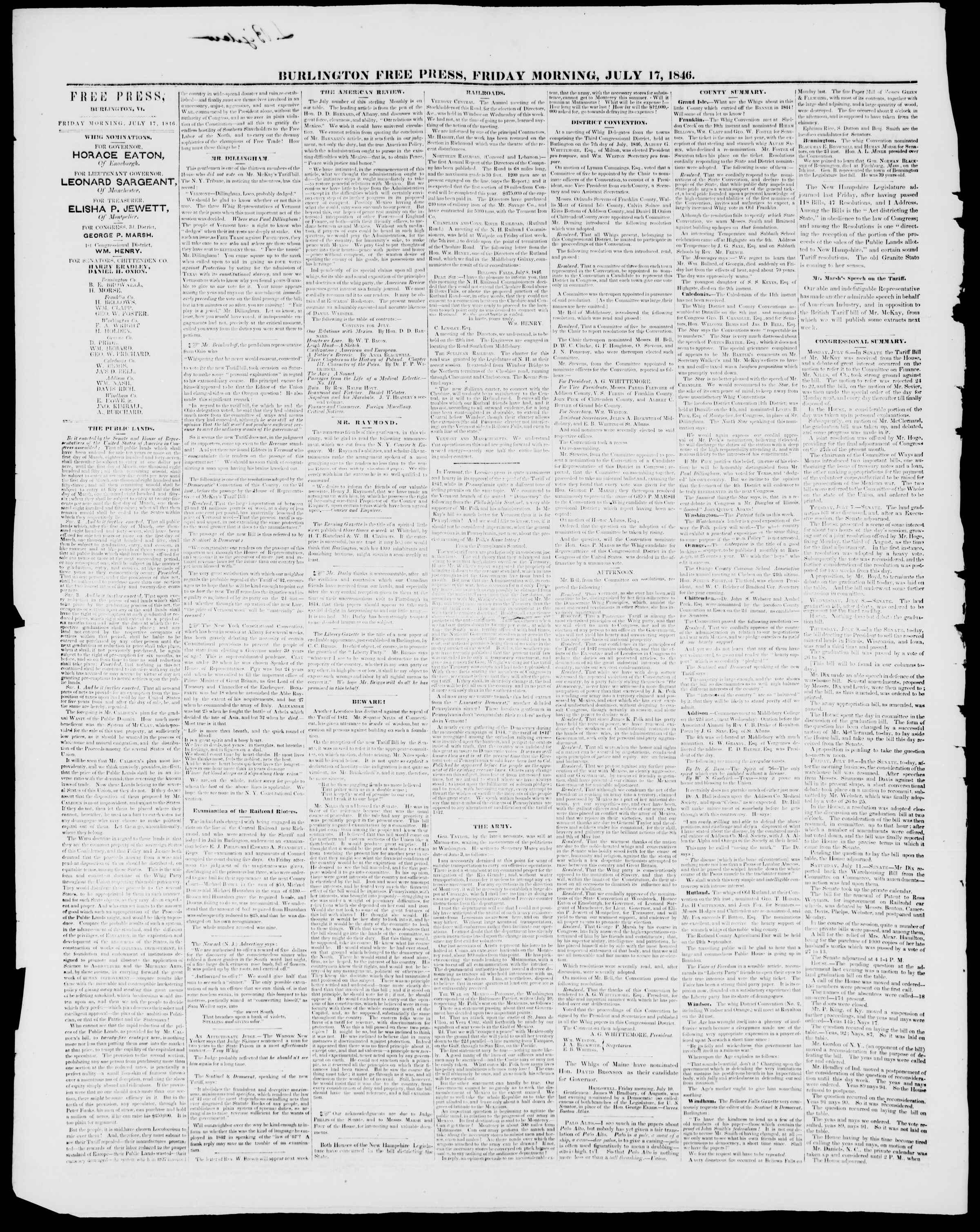 Newspaper of Burlington Free Press dated July 17, 1846 Page 2
