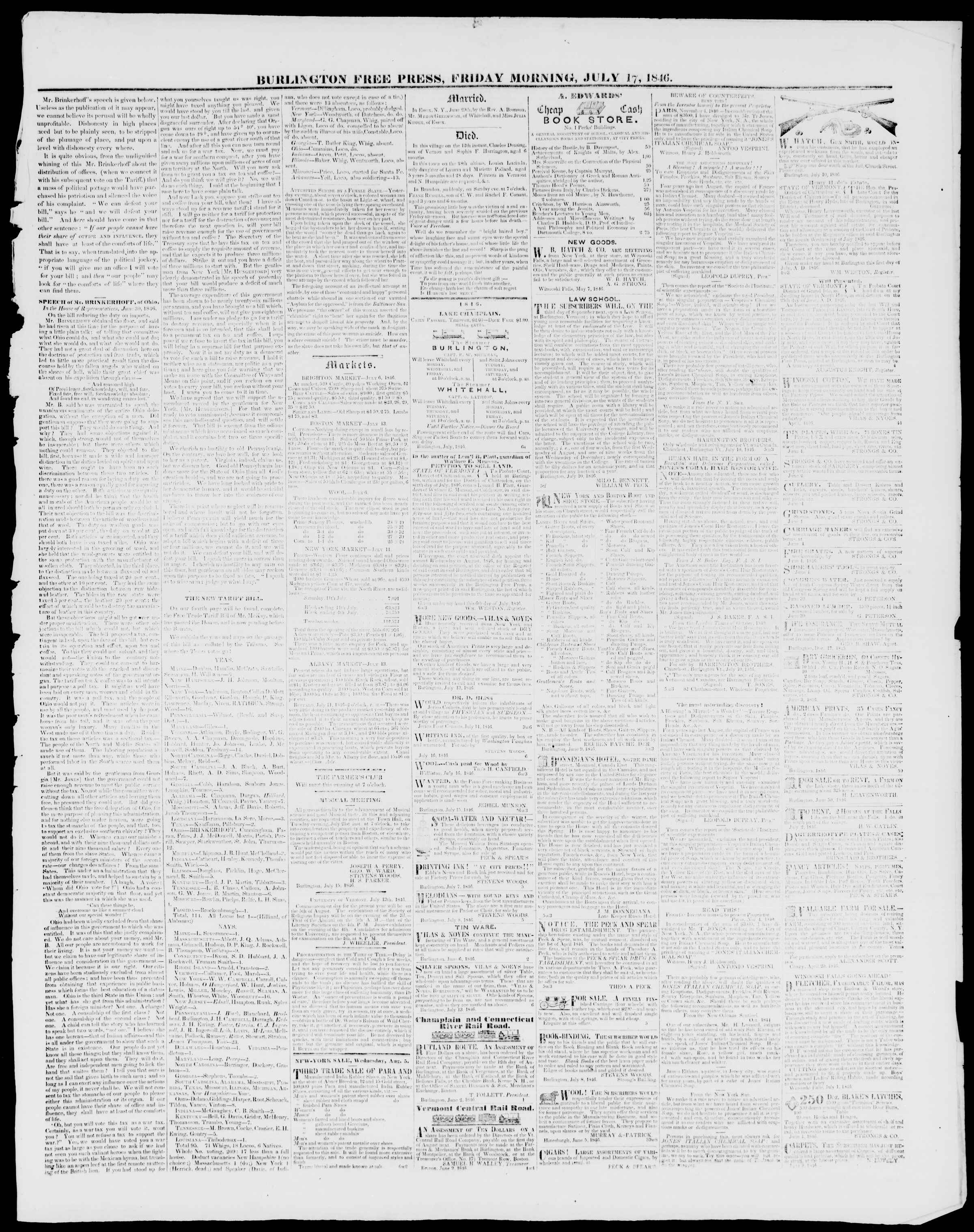 Newspaper of Burlington Free Press dated July 17, 1846 Page 3