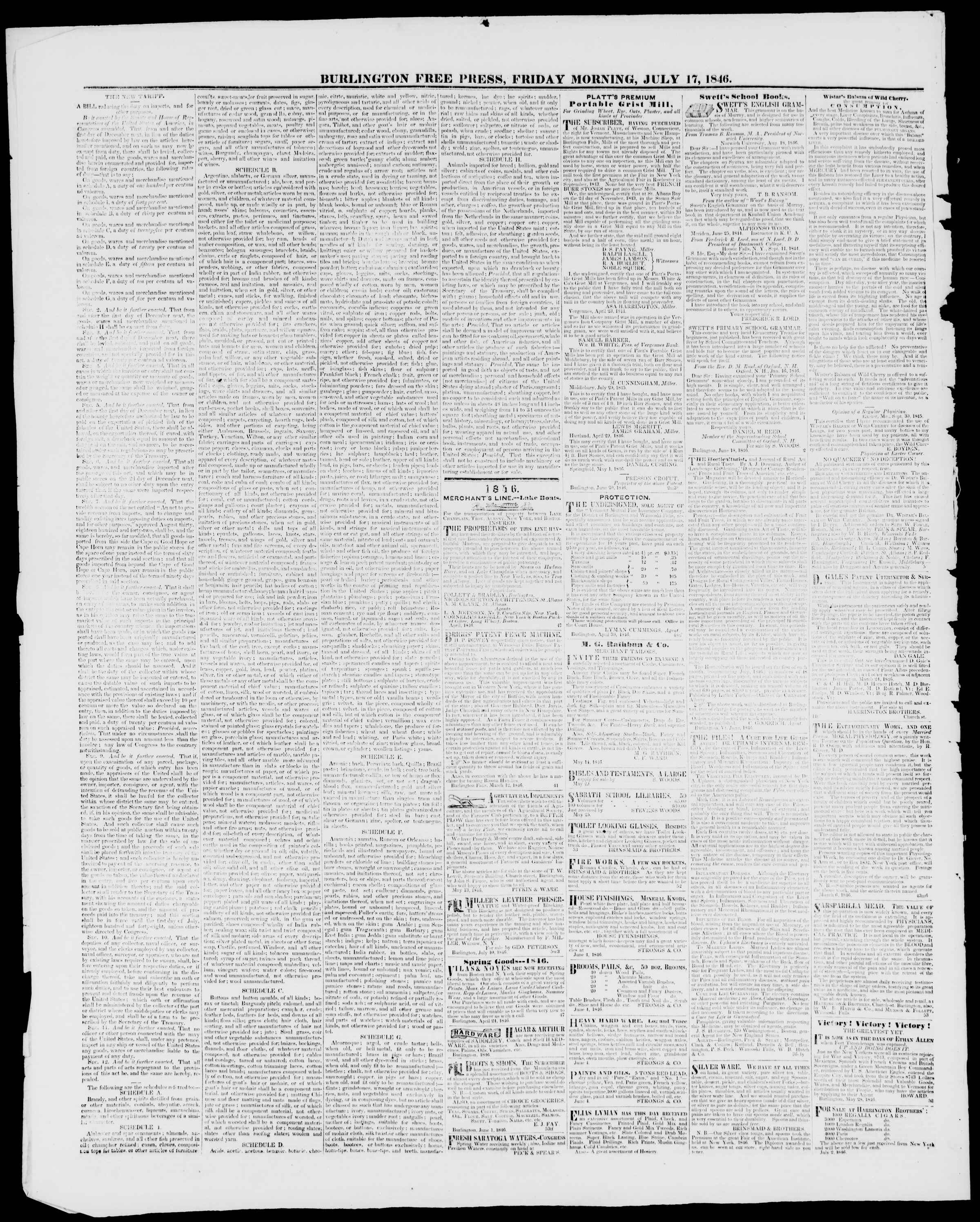 Newspaper of Burlington Free Press dated July 17, 1846 Page 4
