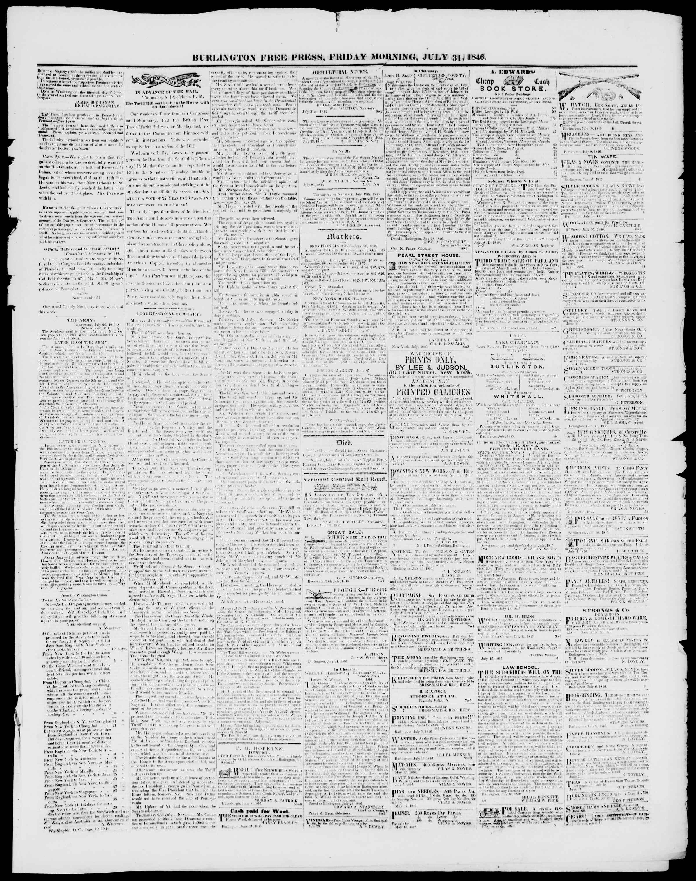 Newspaper of Burlington Free Press dated July 31, 1846 Page 3