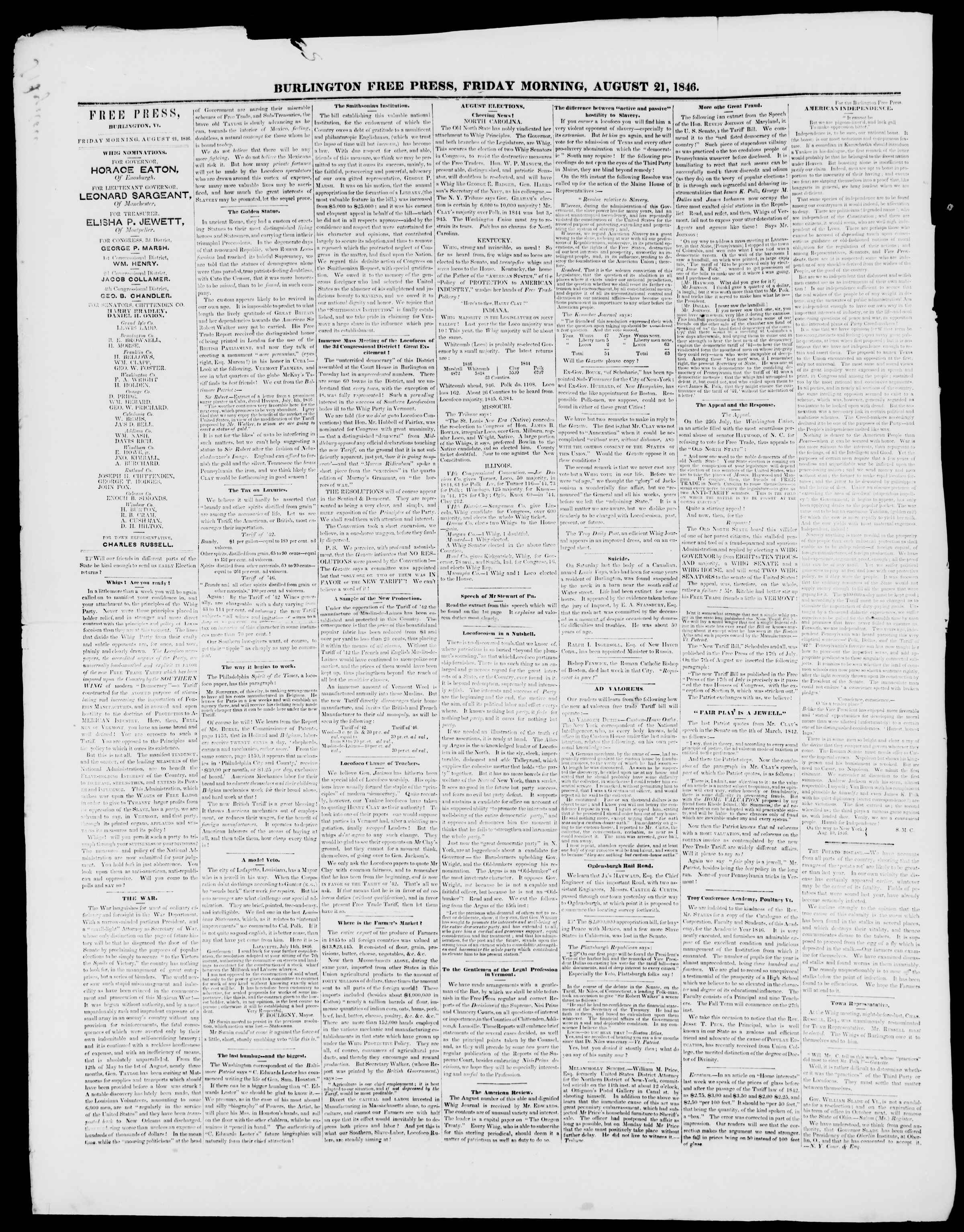 Newspaper of Burlington Free Press dated August 21, 1846 Page 2
