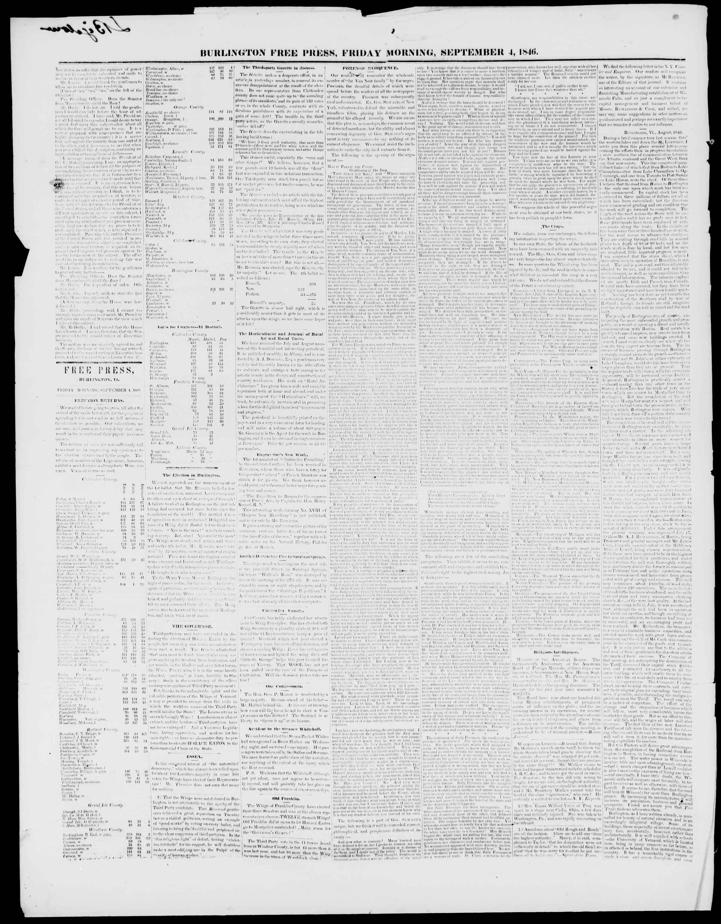 Newspaper of Burlington Free Press dated September 4, 1846 Page 2