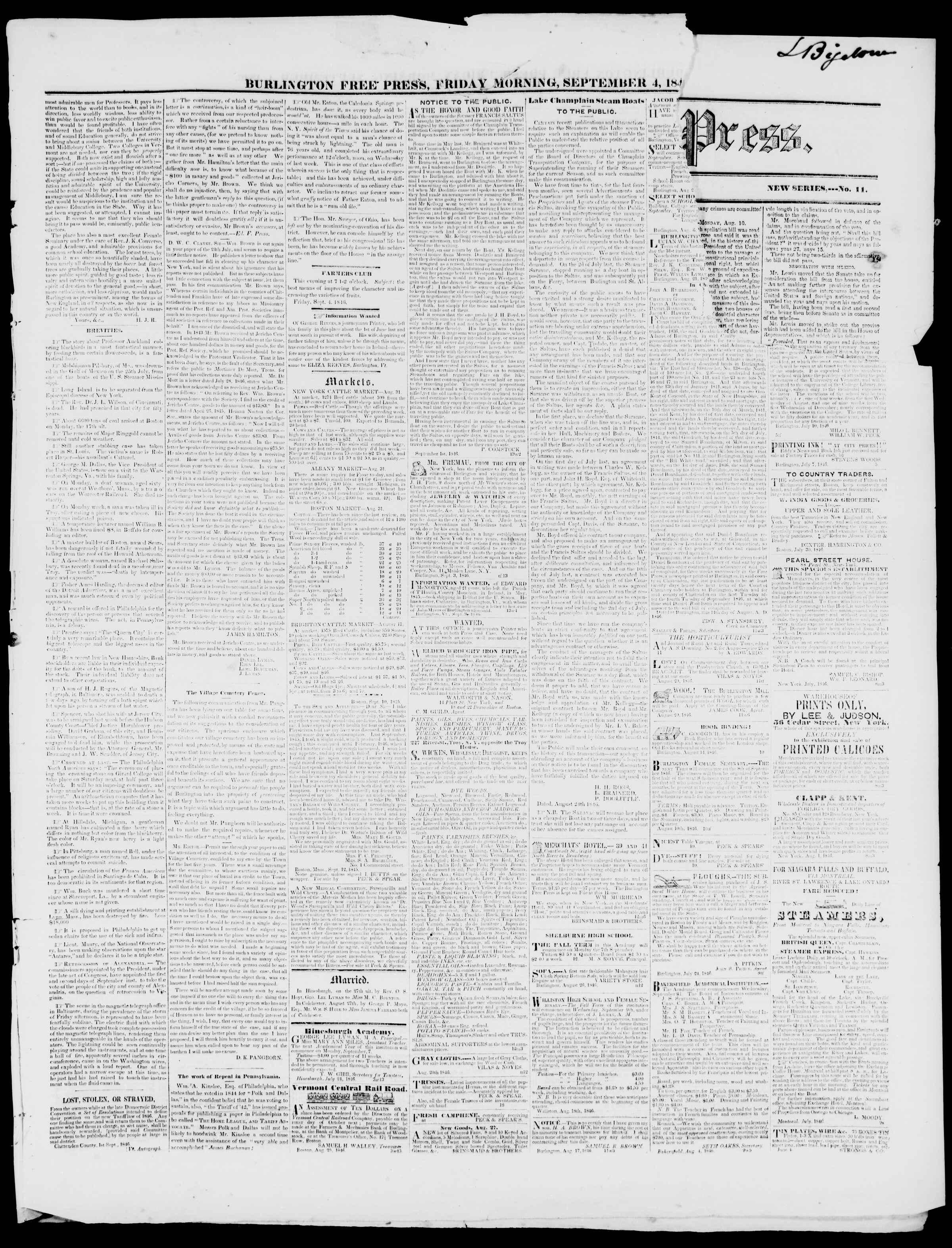 Newspaper of Burlington Free Press dated September 4, 1846 Page 3