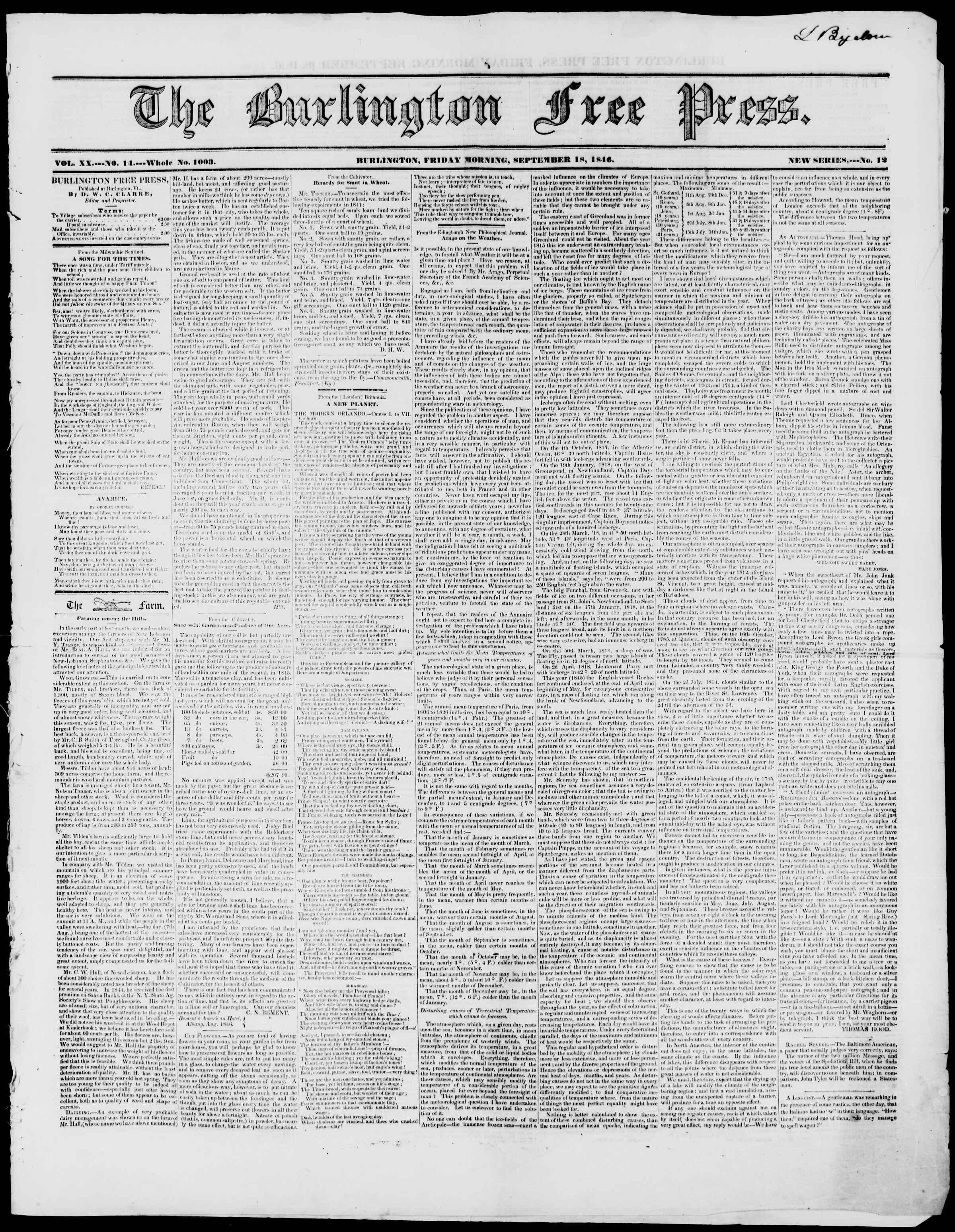 Newspaper of Burlington Free Press dated September 18, 1846 Page 1