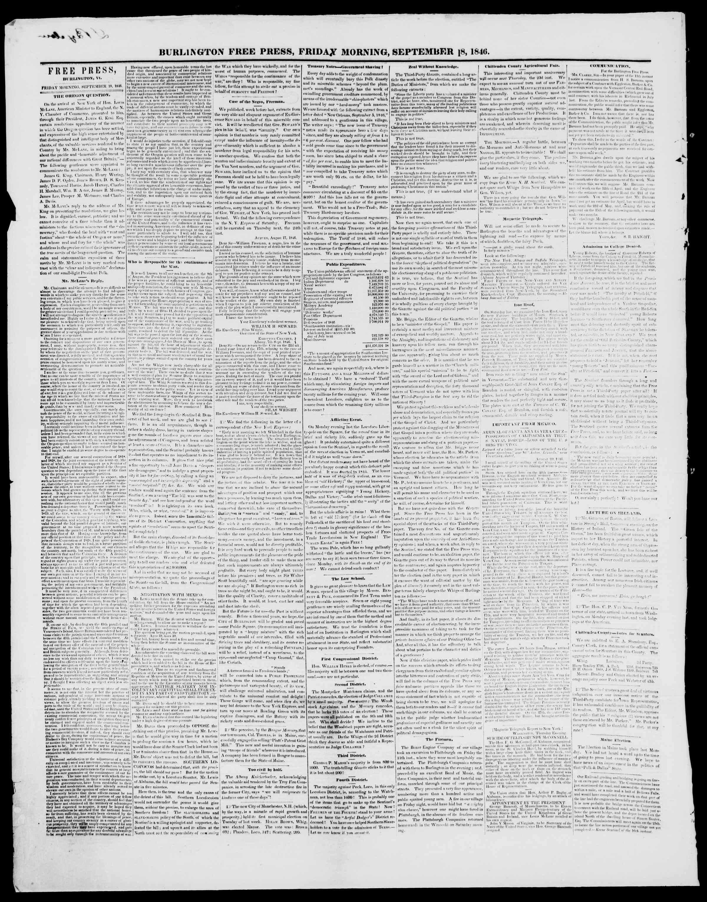 Newspaper of Burlington Free Press dated September 18, 1846 Page 2