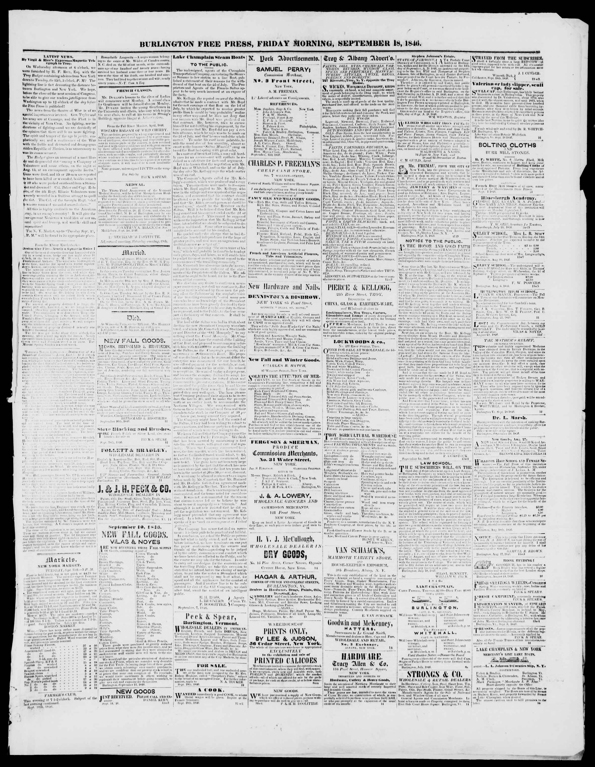 Newspaper of Burlington Free Press dated September 18, 1846 Page 3