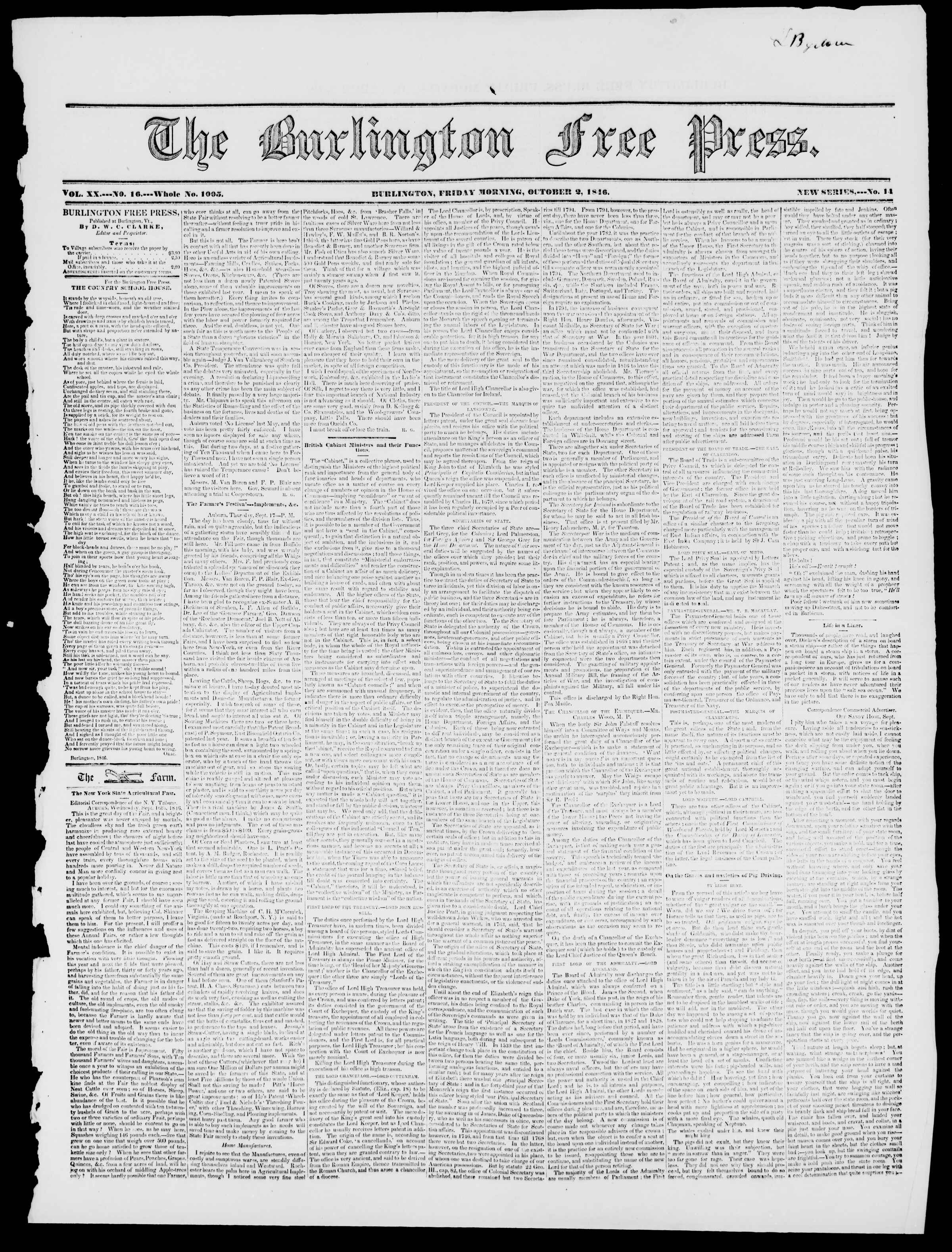 Newspaper of Burlington Free Press dated October 2, 1846 Page 1
