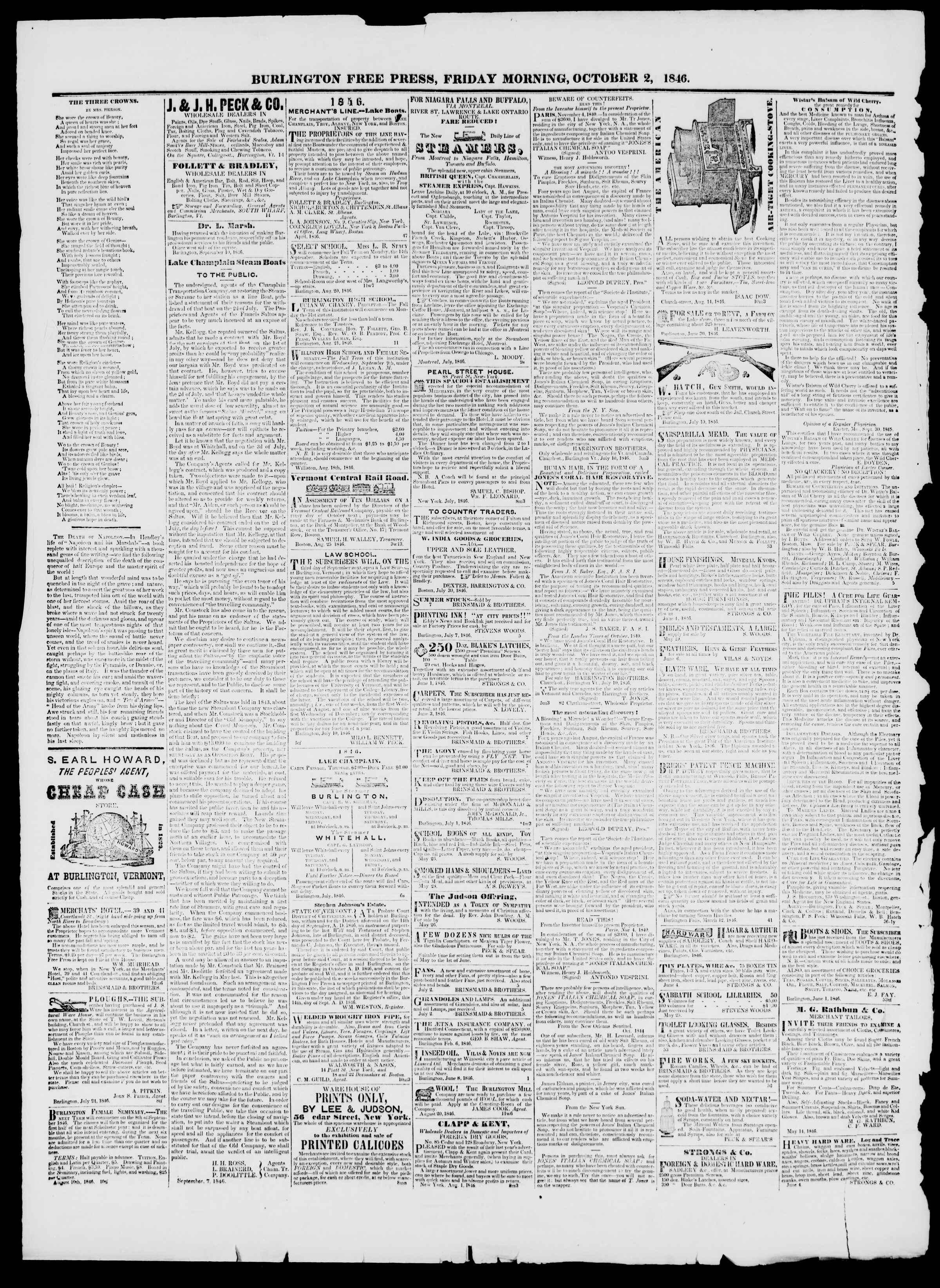 Newspaper of Burlington Free Press dated October 2, 1846 Page 3
