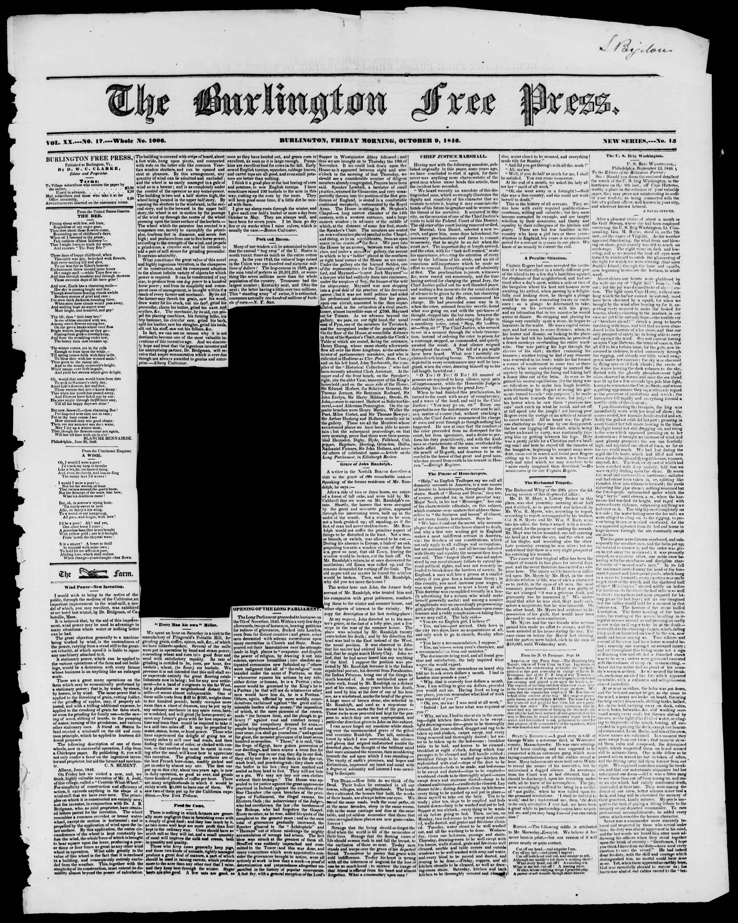 Newspaper of Burlington Free Press dated October 9, 1846 Page 1