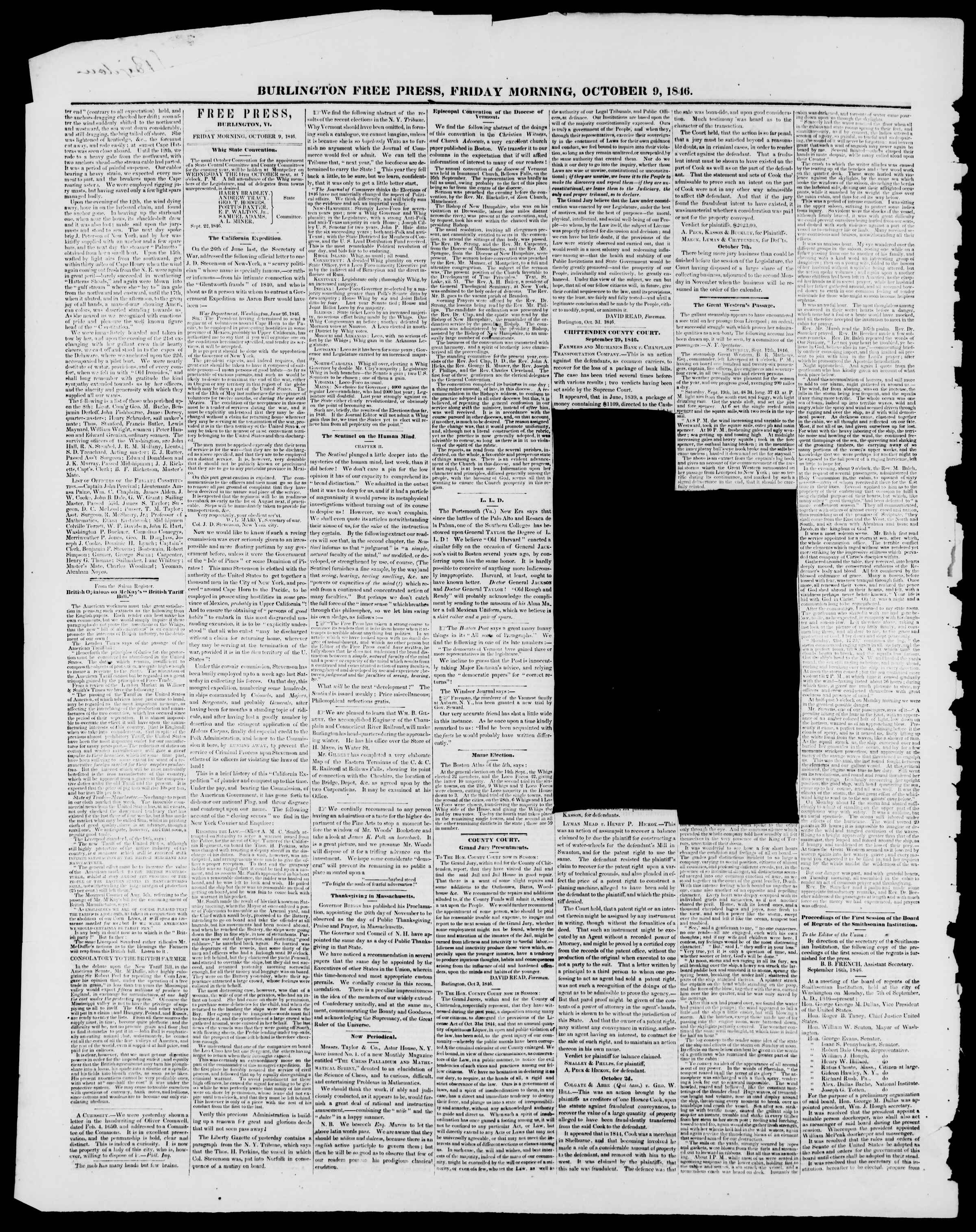 Newspaper of Burlington Free Press dated October 9, 1846 Page 2