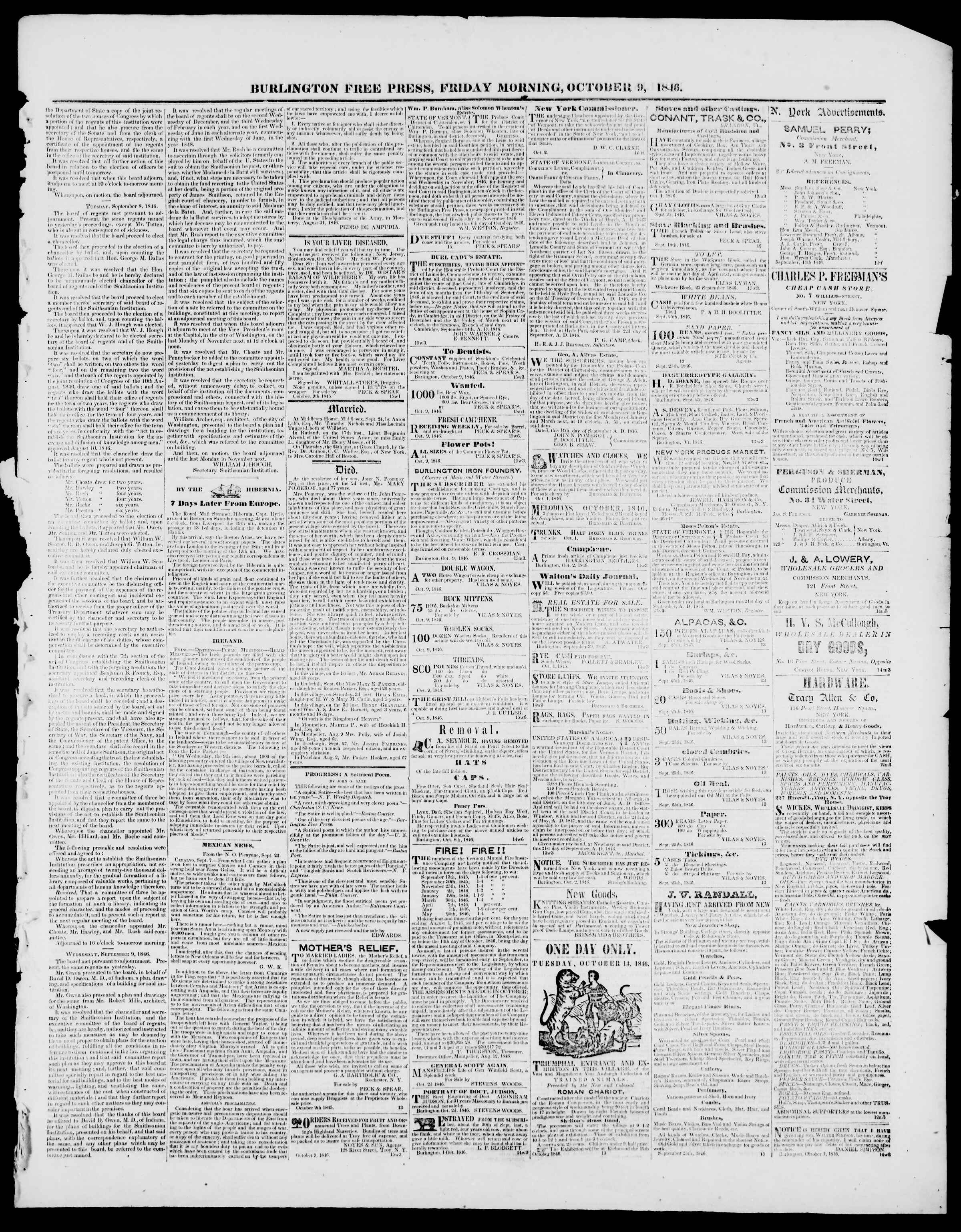 Newspaper of Burlington Free Press dated October 9, 1846 Page 3