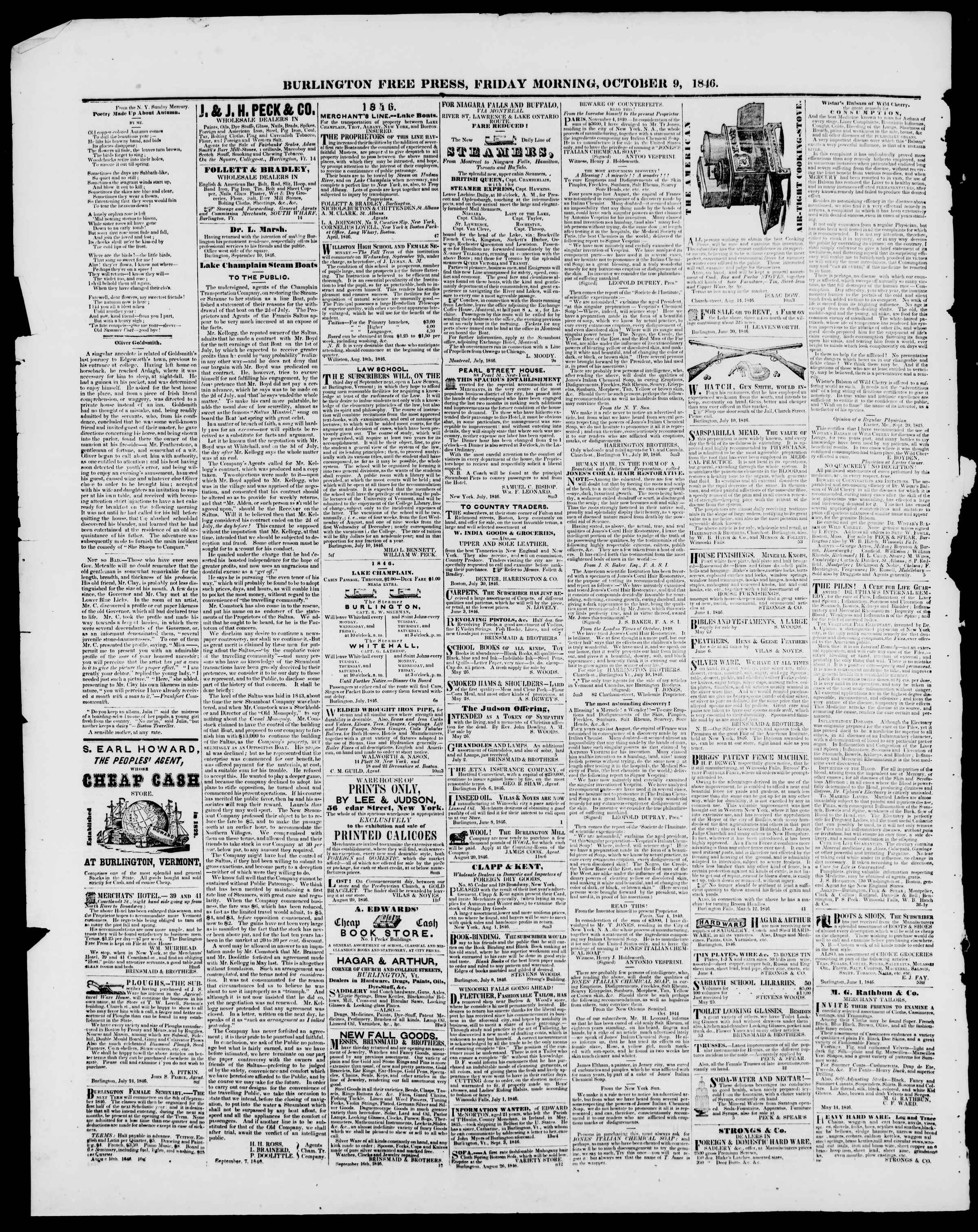 Newspaper of Burlington Free Press dated October 9, 1846 Page 4