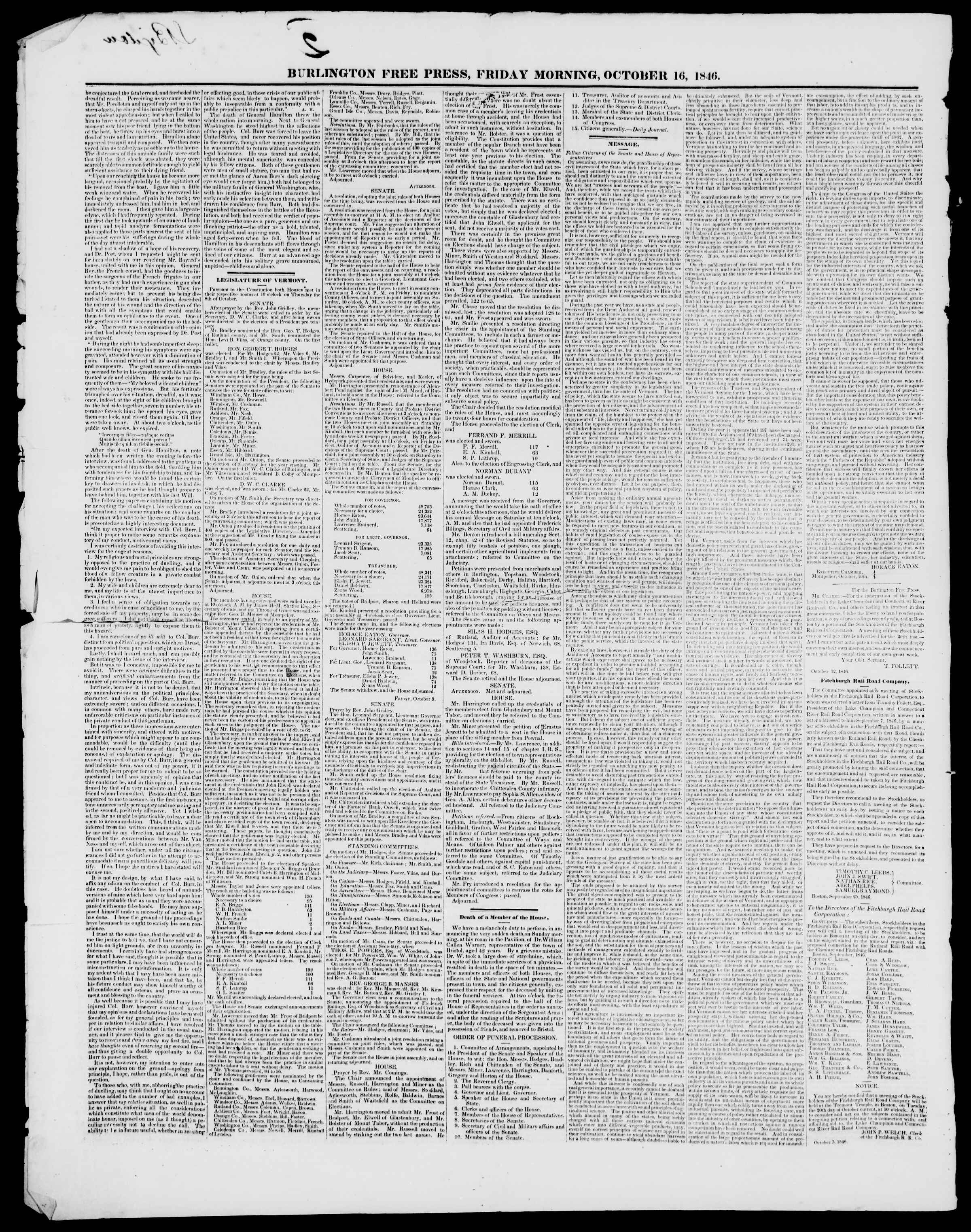Newspaper of Burlington Free Press dated October 16, 1846 Page 2